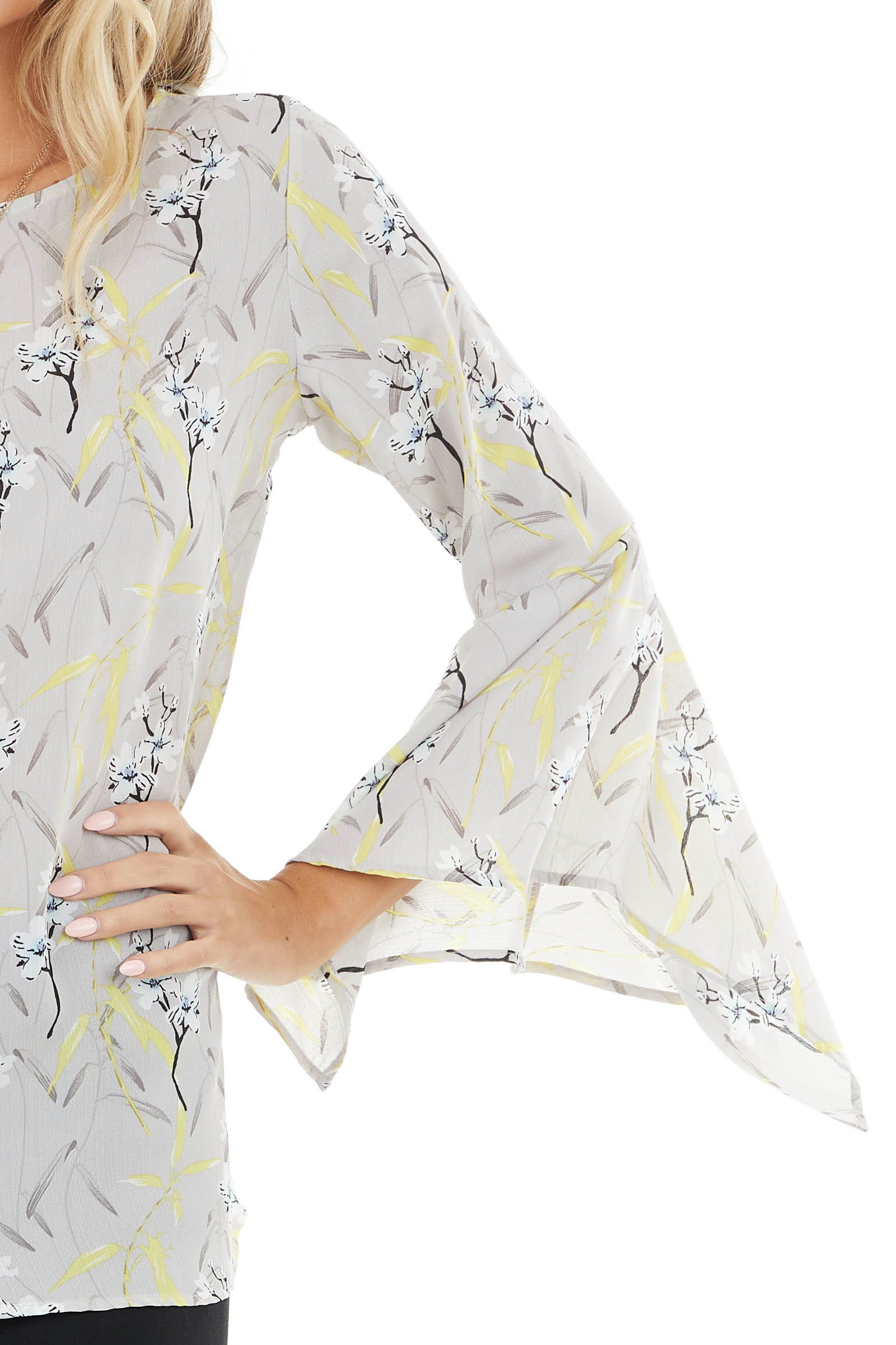 Dove Grey Floral Print Flare Sleeve Blouse with Back Cutout