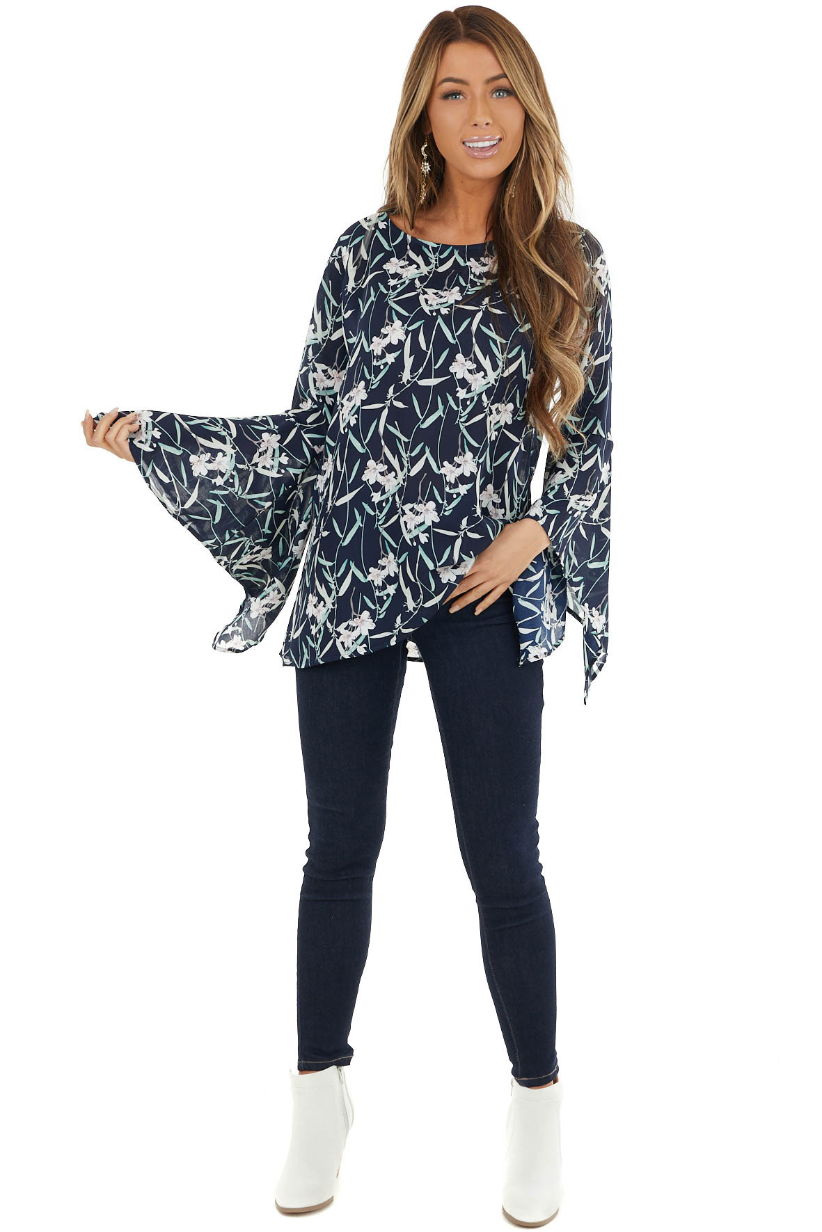 Navy Blue Floral Print Flare Sleeve Blouse with Back Cutout