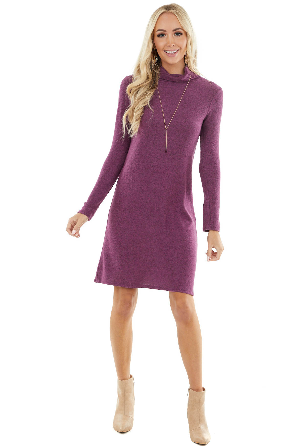 Light Plum Brushed Knit Turtleneck Dress with Long Sleeves