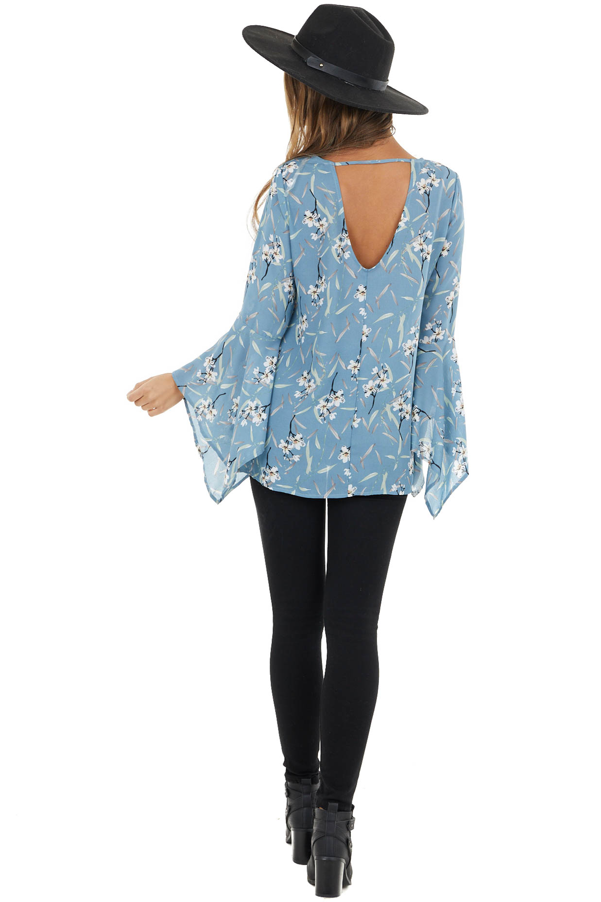 Cornflower Floral Print Flare Sleeve Blouse with Back Cutout
