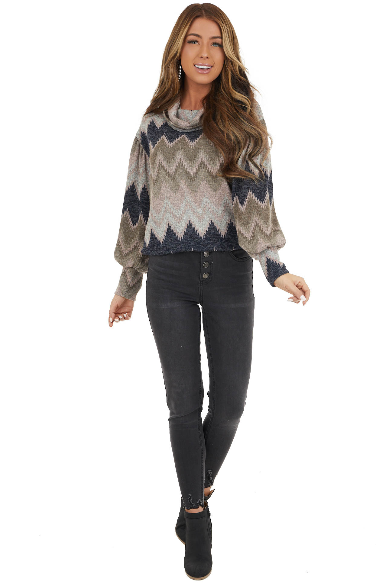 Blush Multicolor Zigzag Print Knit Top with Cowl Neck