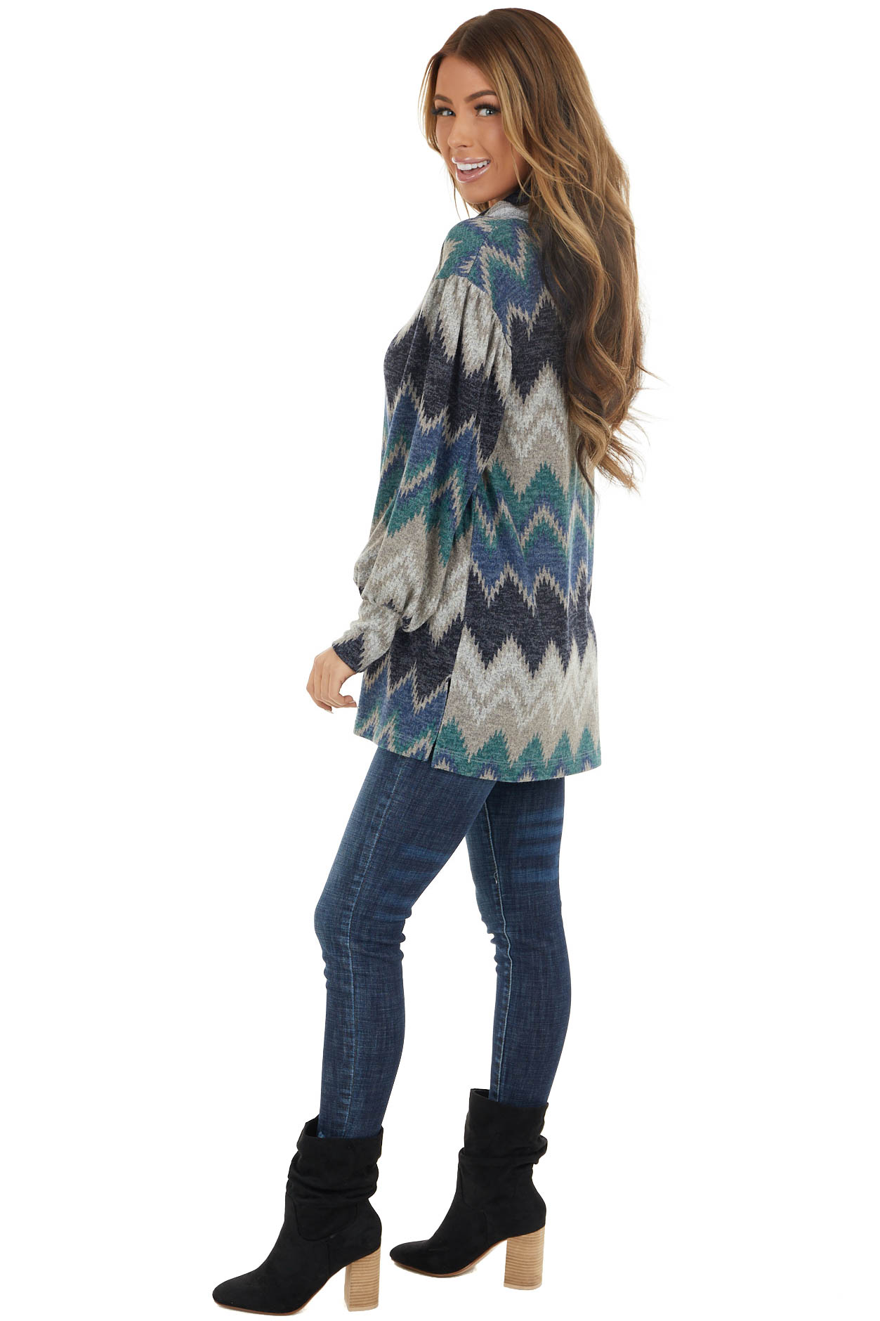 Navy Multicolor Zigzag Print Knit Top with Cowl Neck