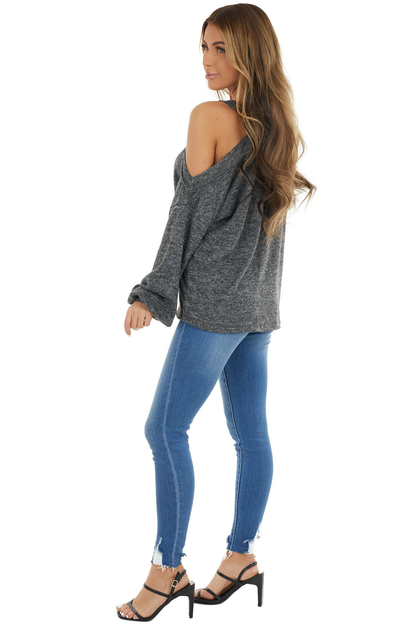 Charcoal Cold Shoulder Long Sleeve Top with Raw Seam Detail