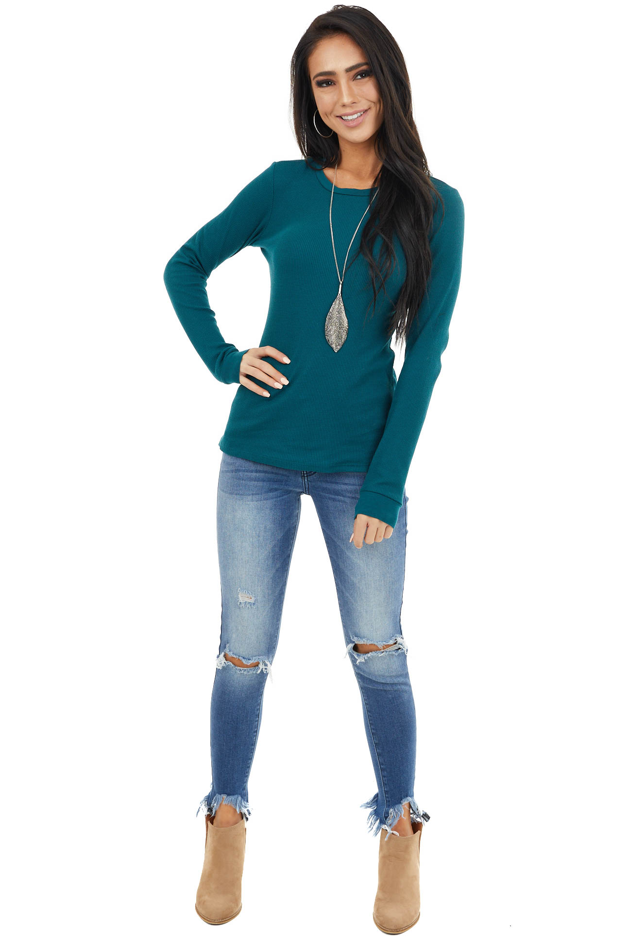 Pine Green Waffle Knit Top with Rounded Neckline