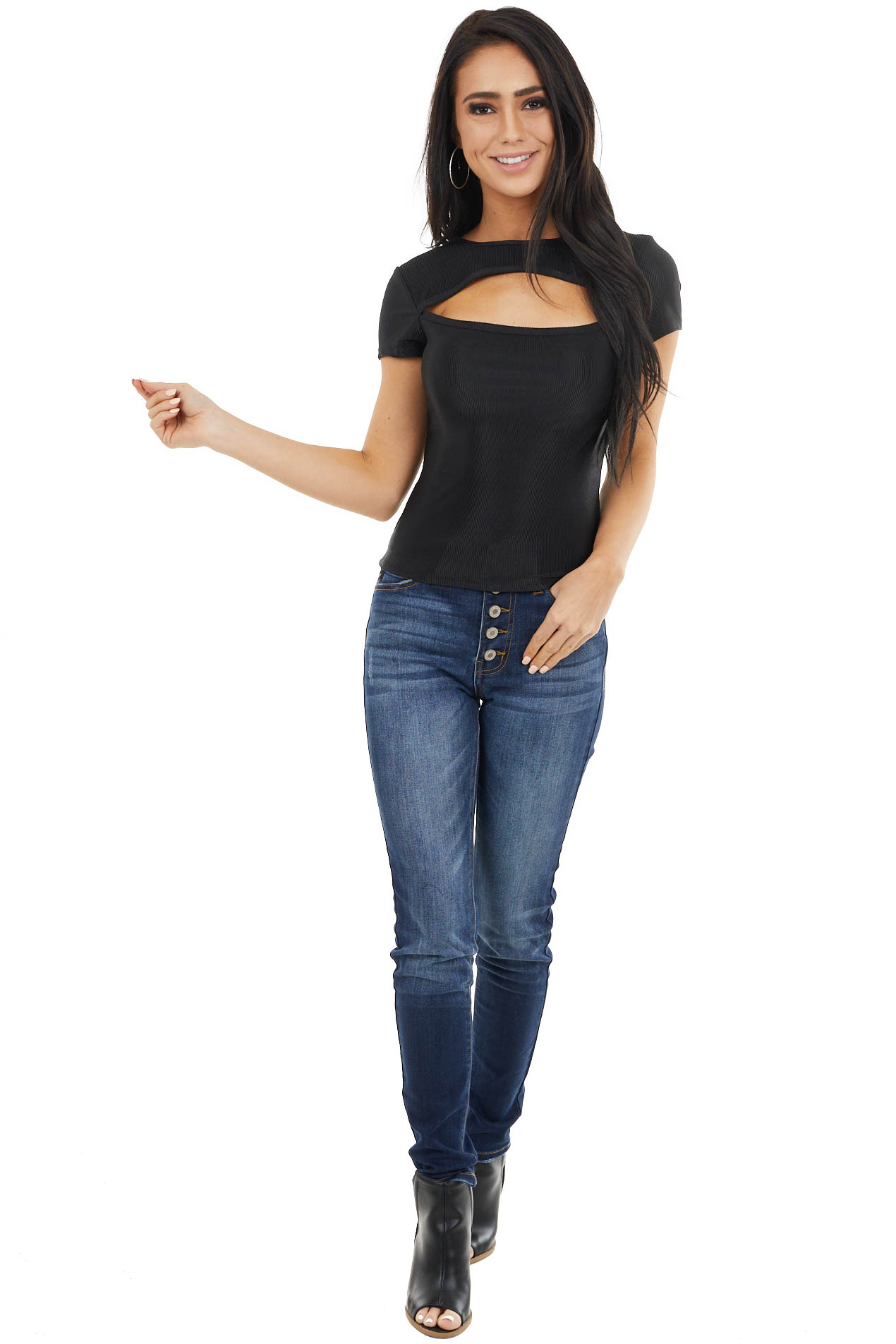 Black Smooth Ribbed Knit Top with Chest Cutout Detail