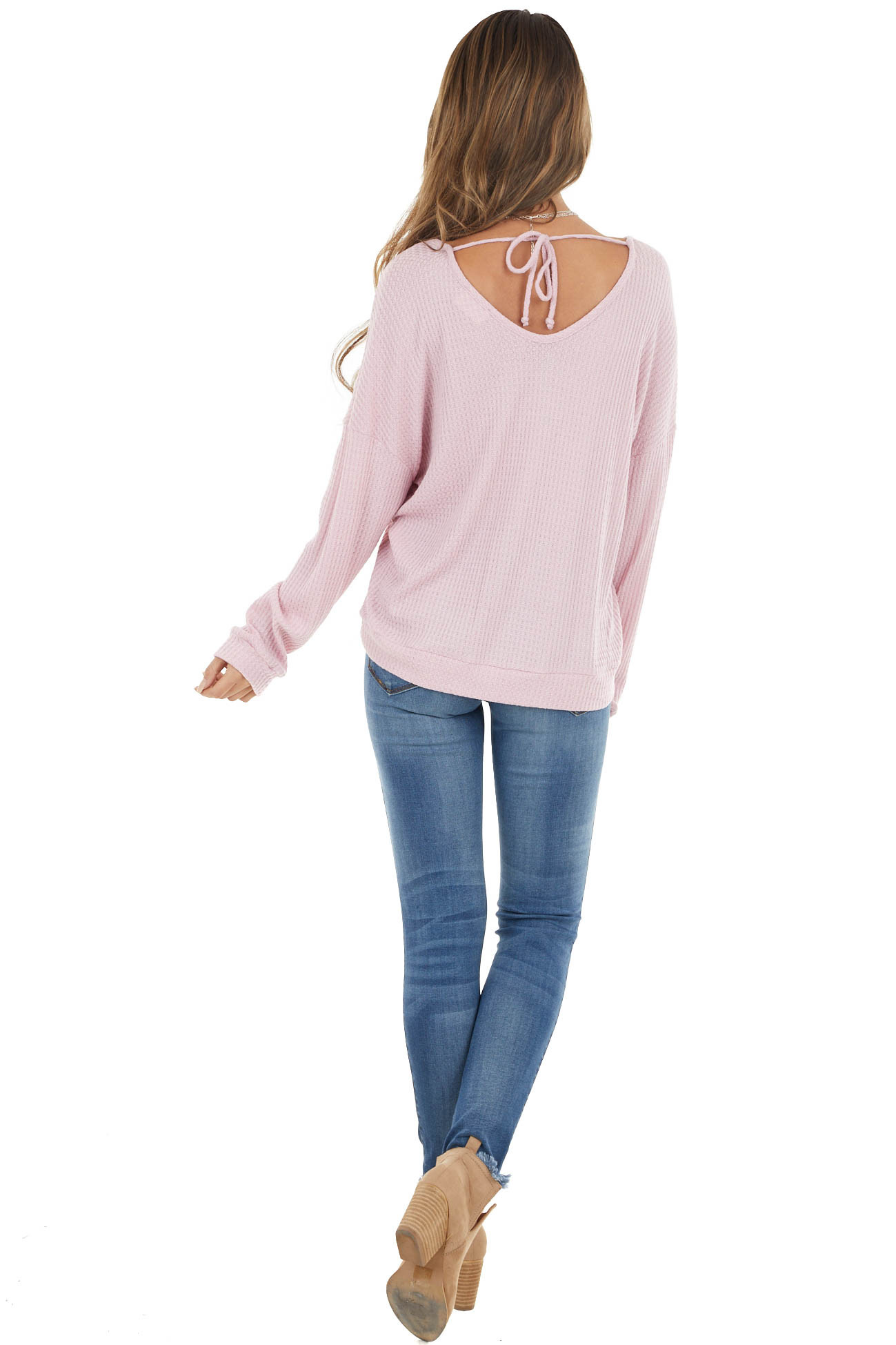 Dusty Blush Stretchy Waffle Knit Top with Back Tie Detail