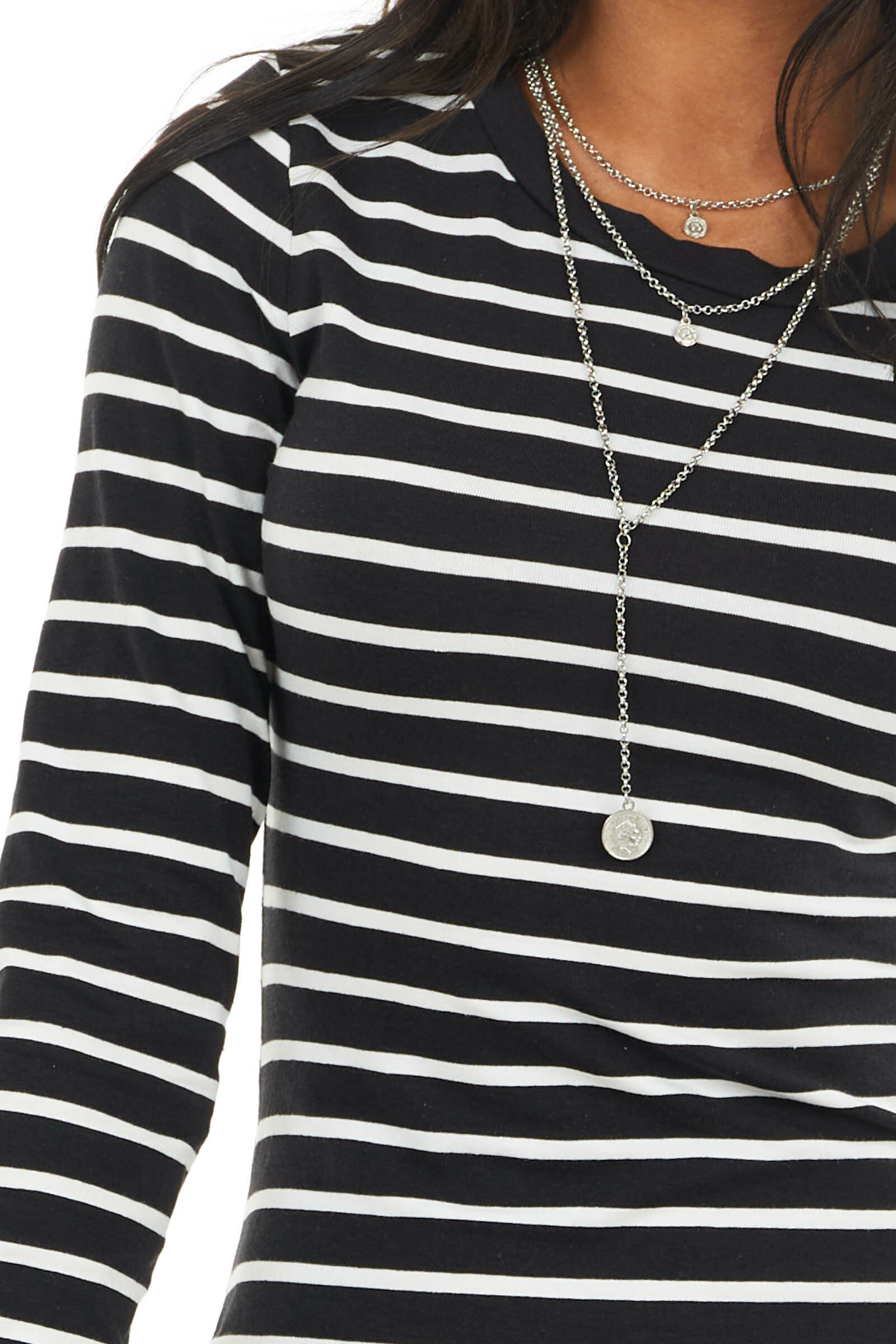 Black and White Striped Mini Dress with Long Sleeves