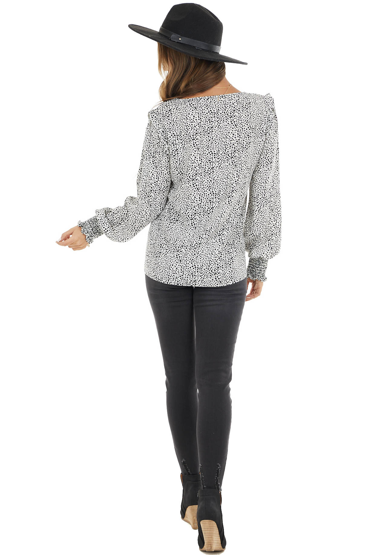 Off White Cheetah Print Woven Top with Detailed Shoulder