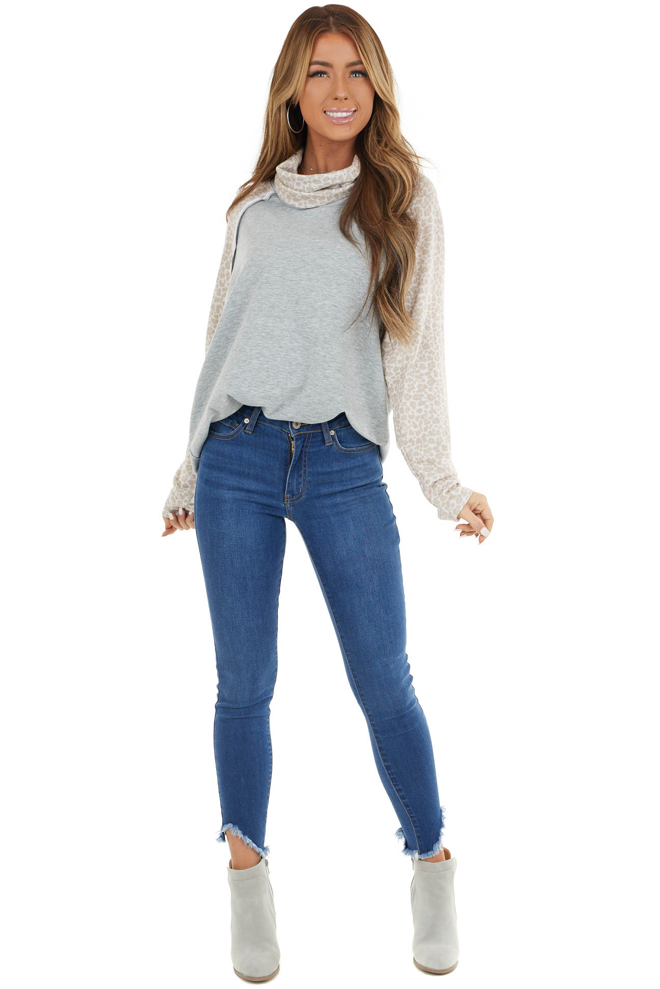 Heather Grey Raglan Top with Contrast Sleeves and Cowl Neck