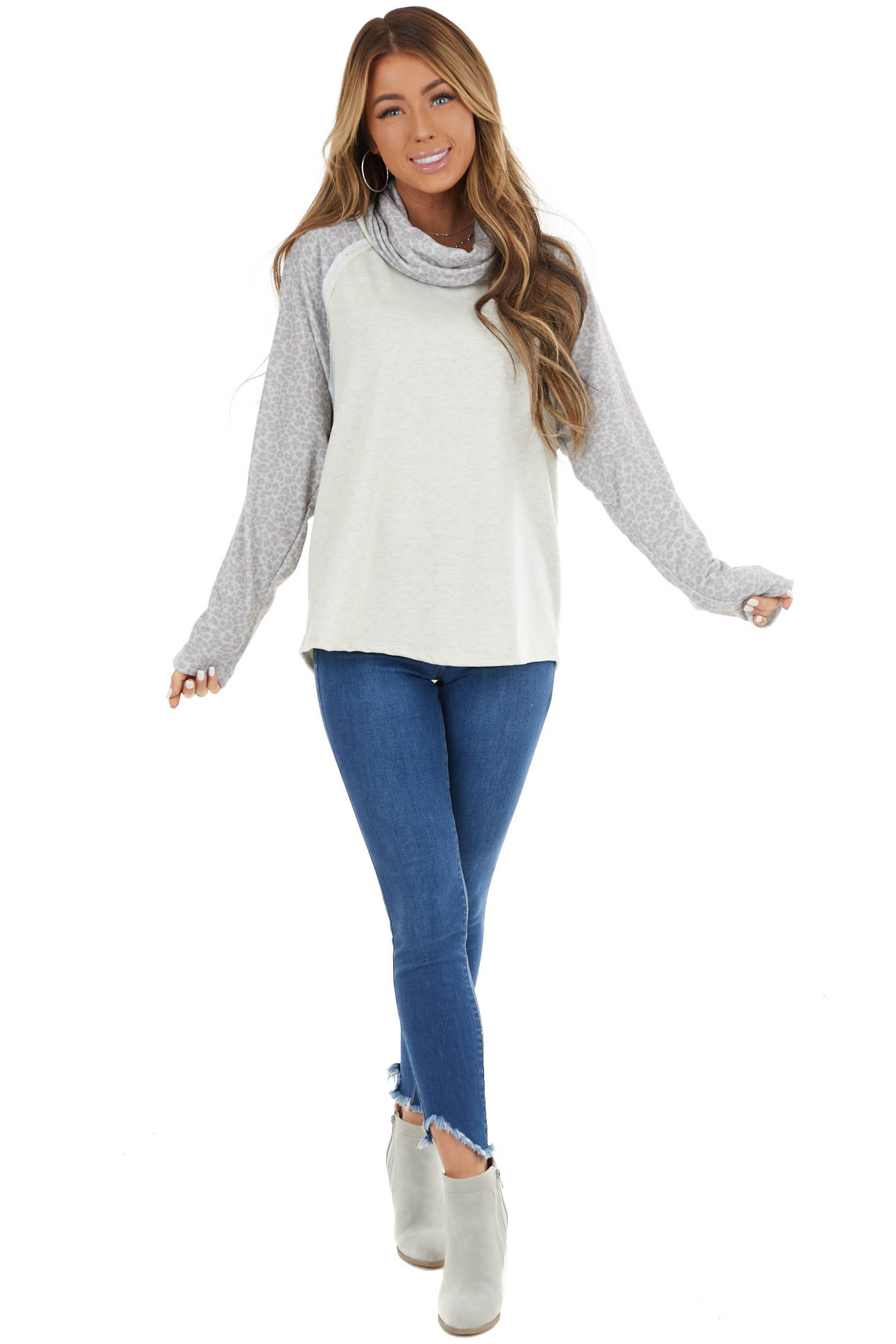 Oatmeal Raglan Top with Contrast Sleeves and Cowl Neck