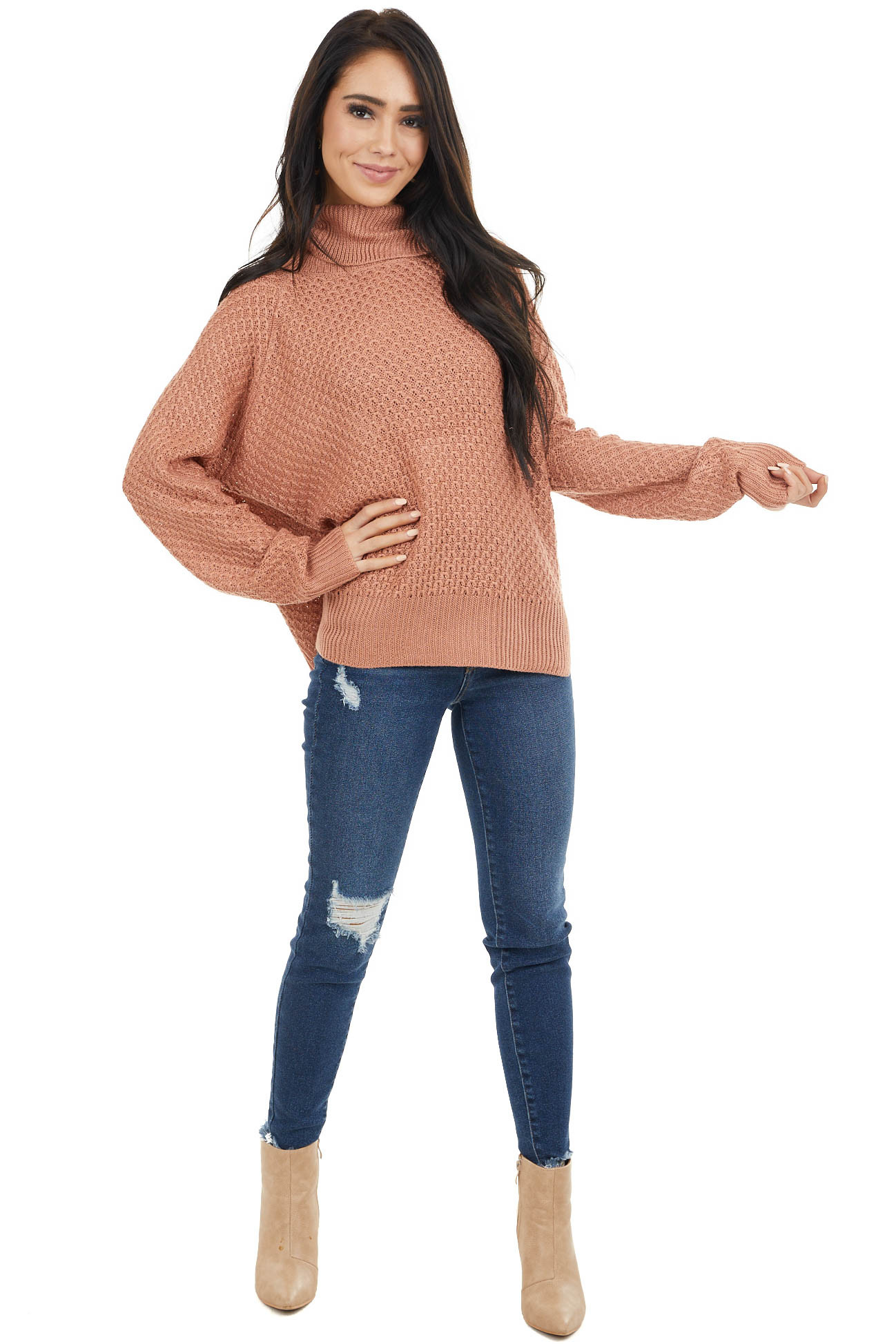 Terracotta Waffle Knit Turtleneck Sweater with Long Sleeves