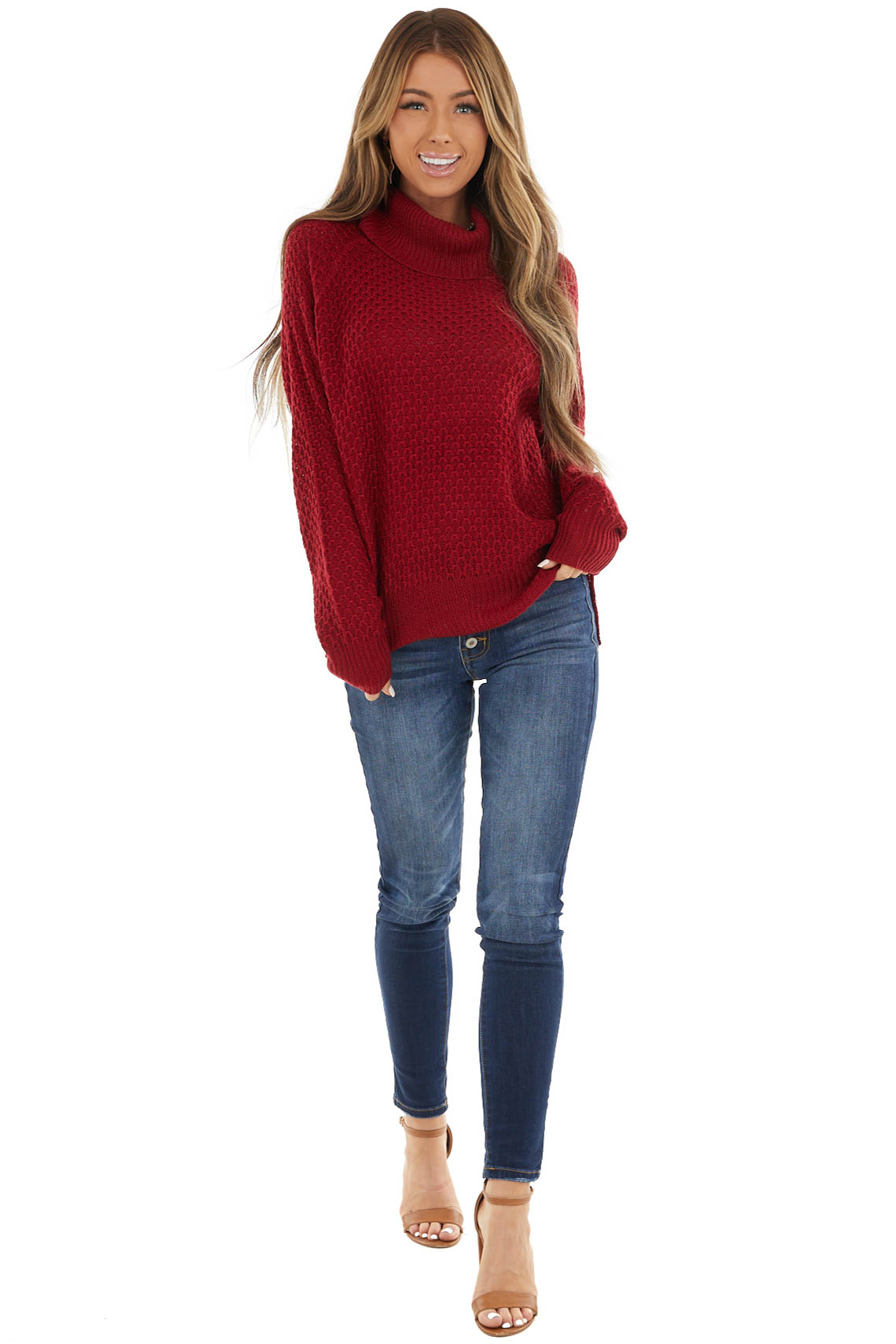Cranberry Waffle Knit Turtleneck Sweater with Long Sleeves