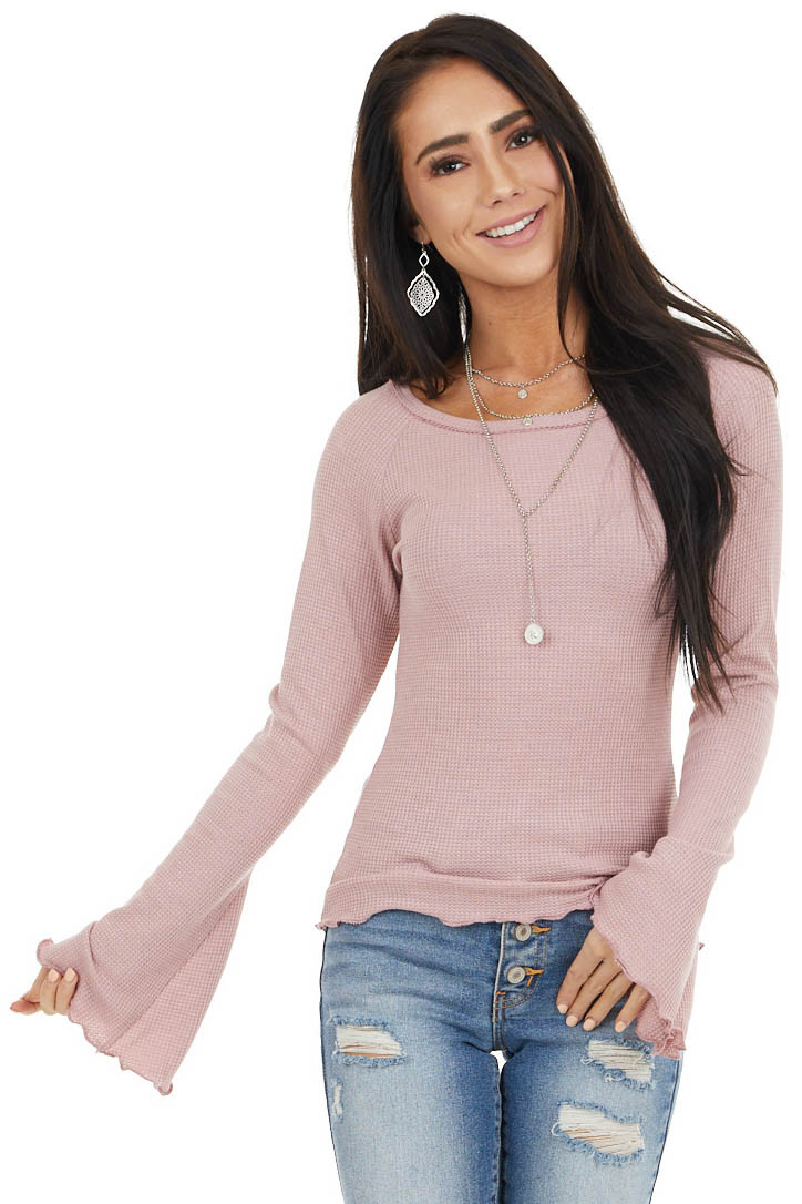 Blush Waffle Knit High Low Top with Long Bell Sleeves