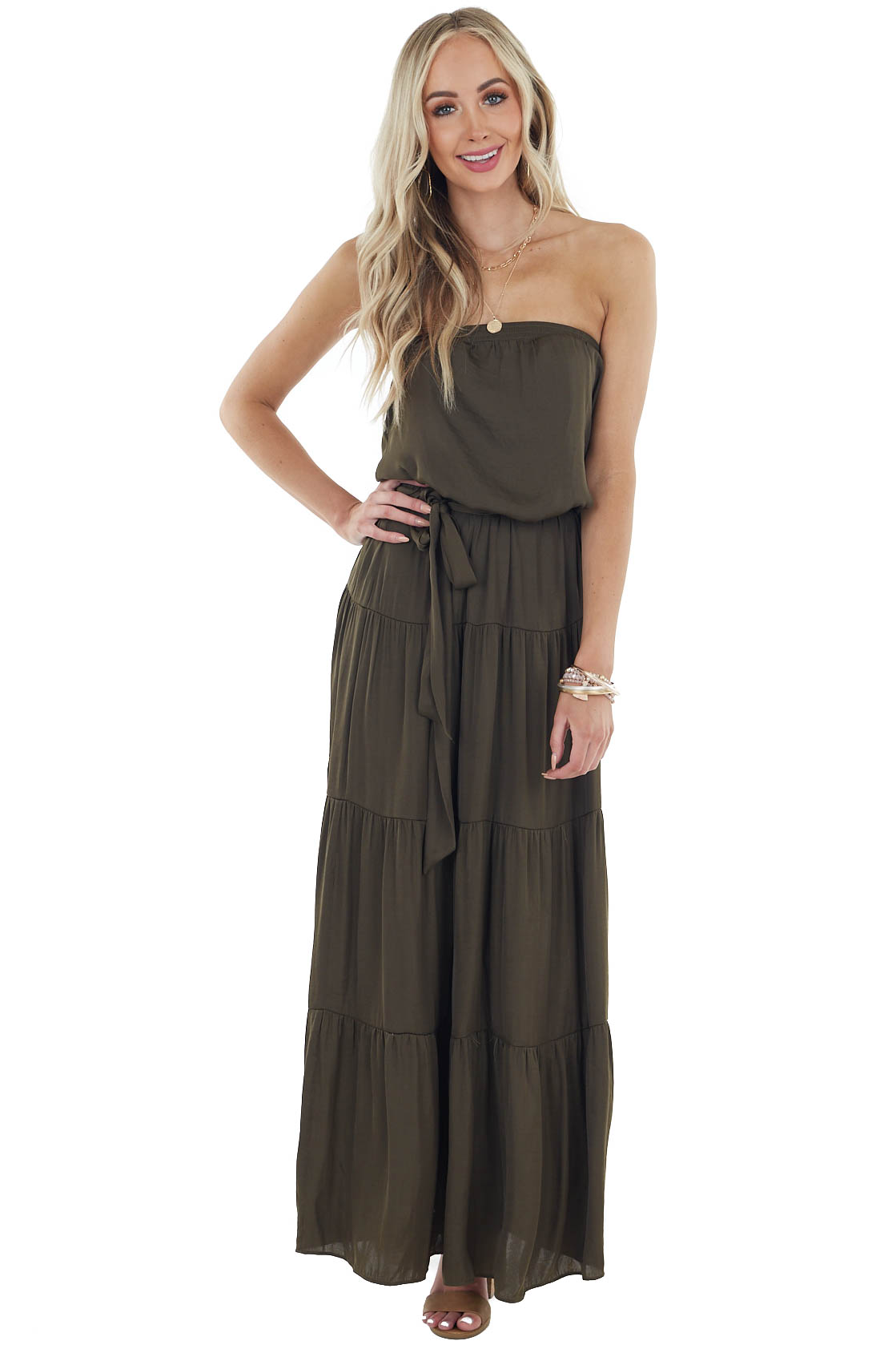 Dark Olive Tiered Tube Top Maxi Dress with Elastic Waist