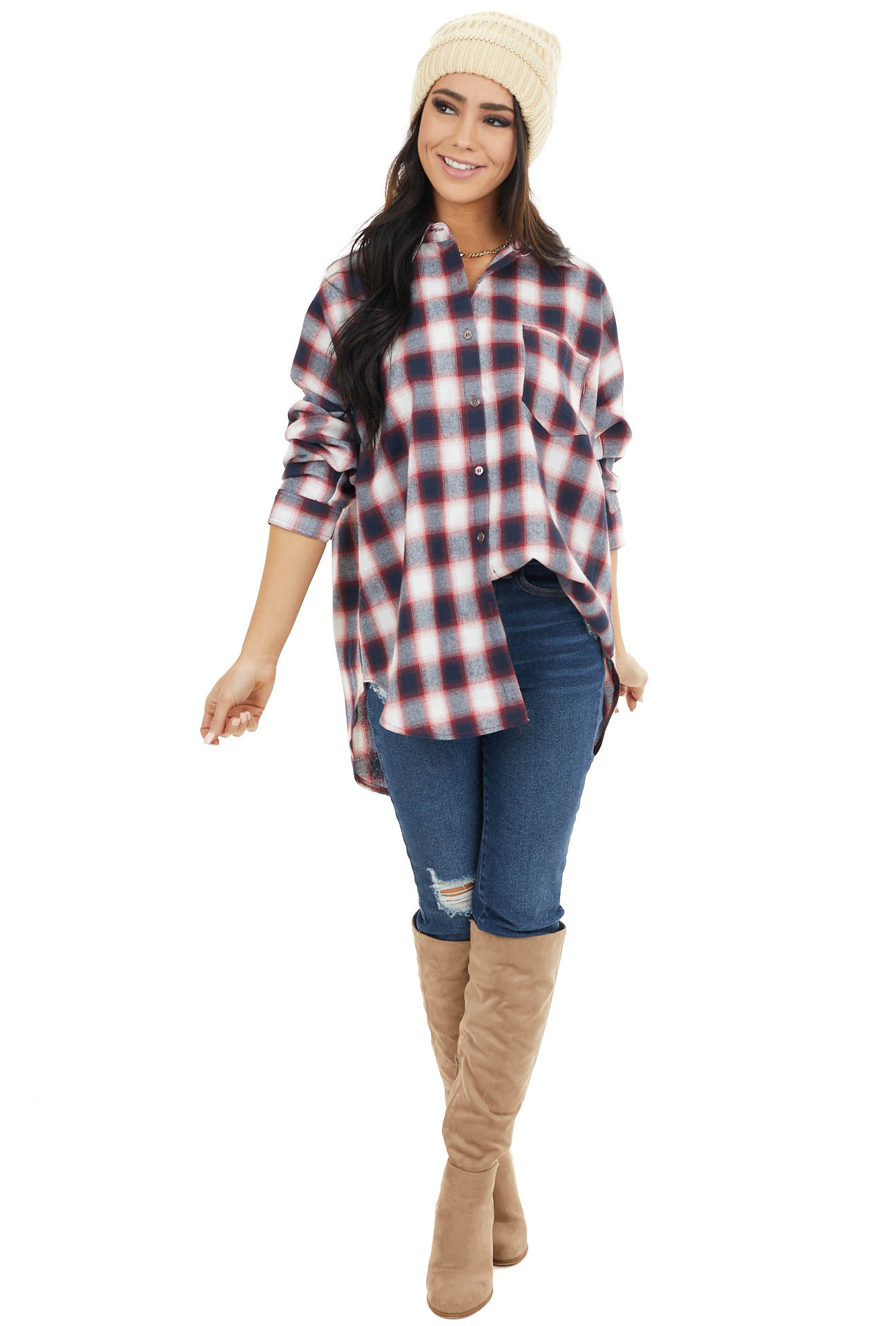 Navy and Ruby Plaid Long Sleeve Button Up Top
