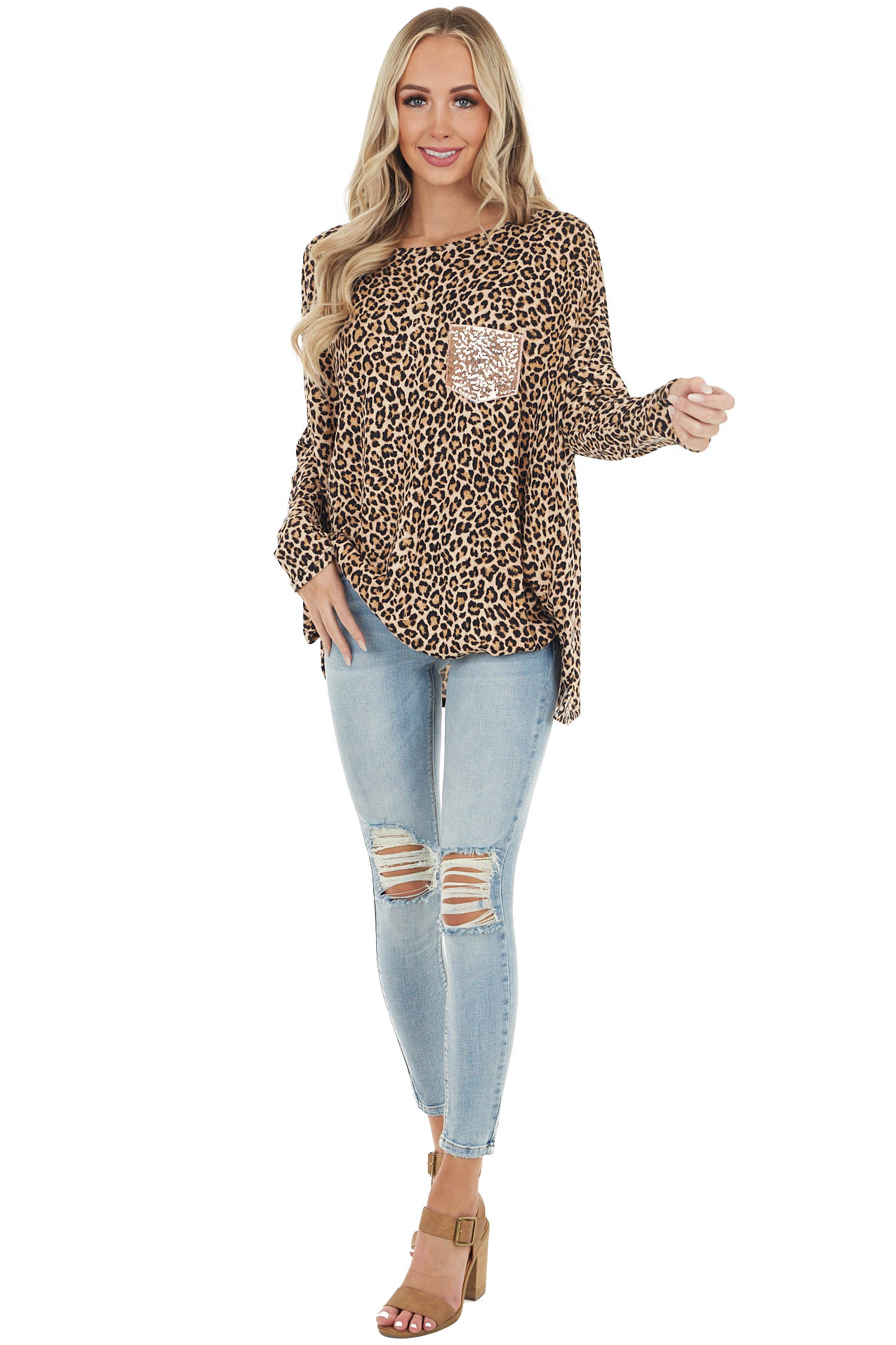 Beige Leopard Print Long Sleeve Top with Sequin Chest Pocket