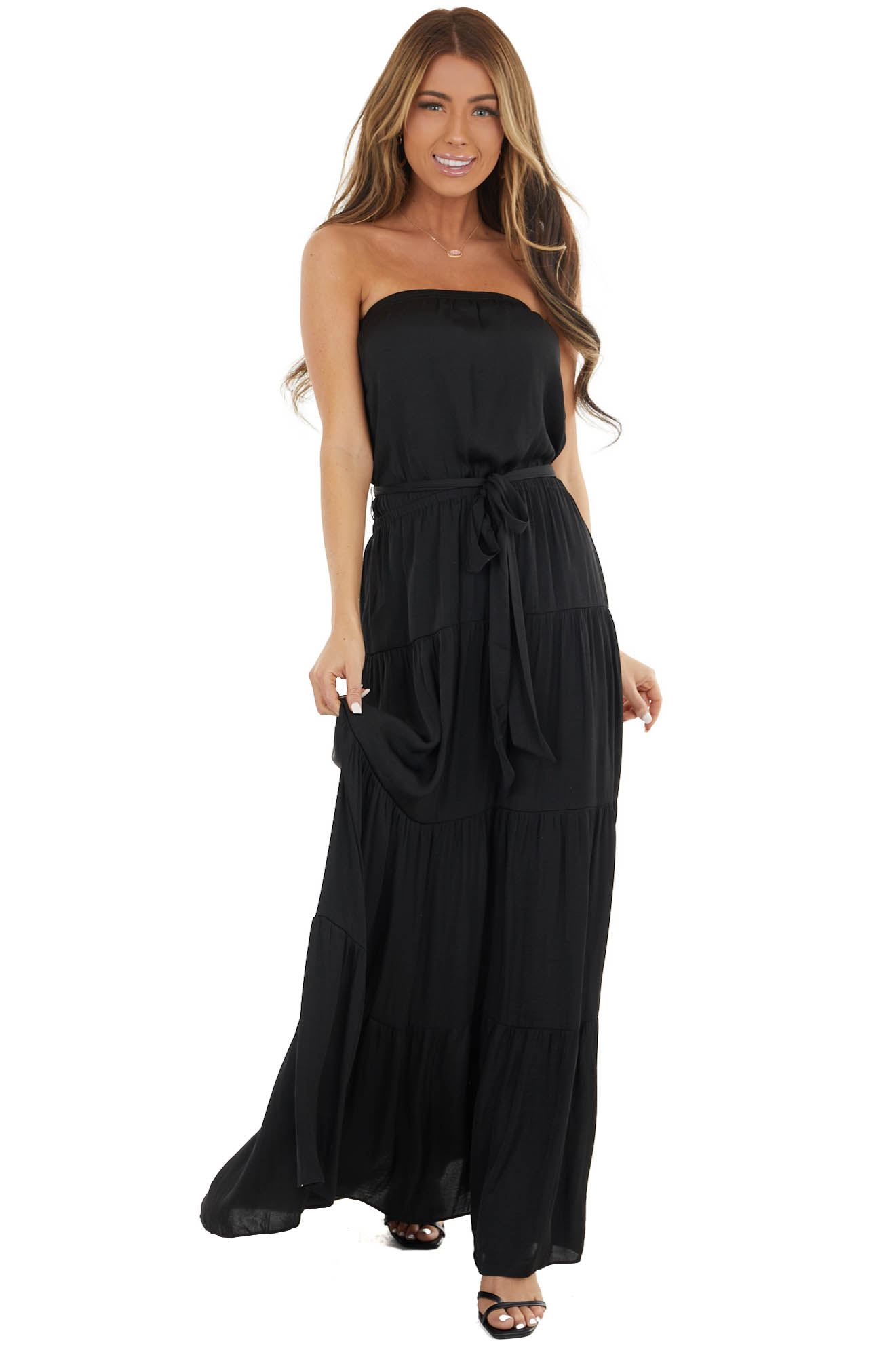 Black Tiered Tube Top Maxi Dress with Elastic Waist
