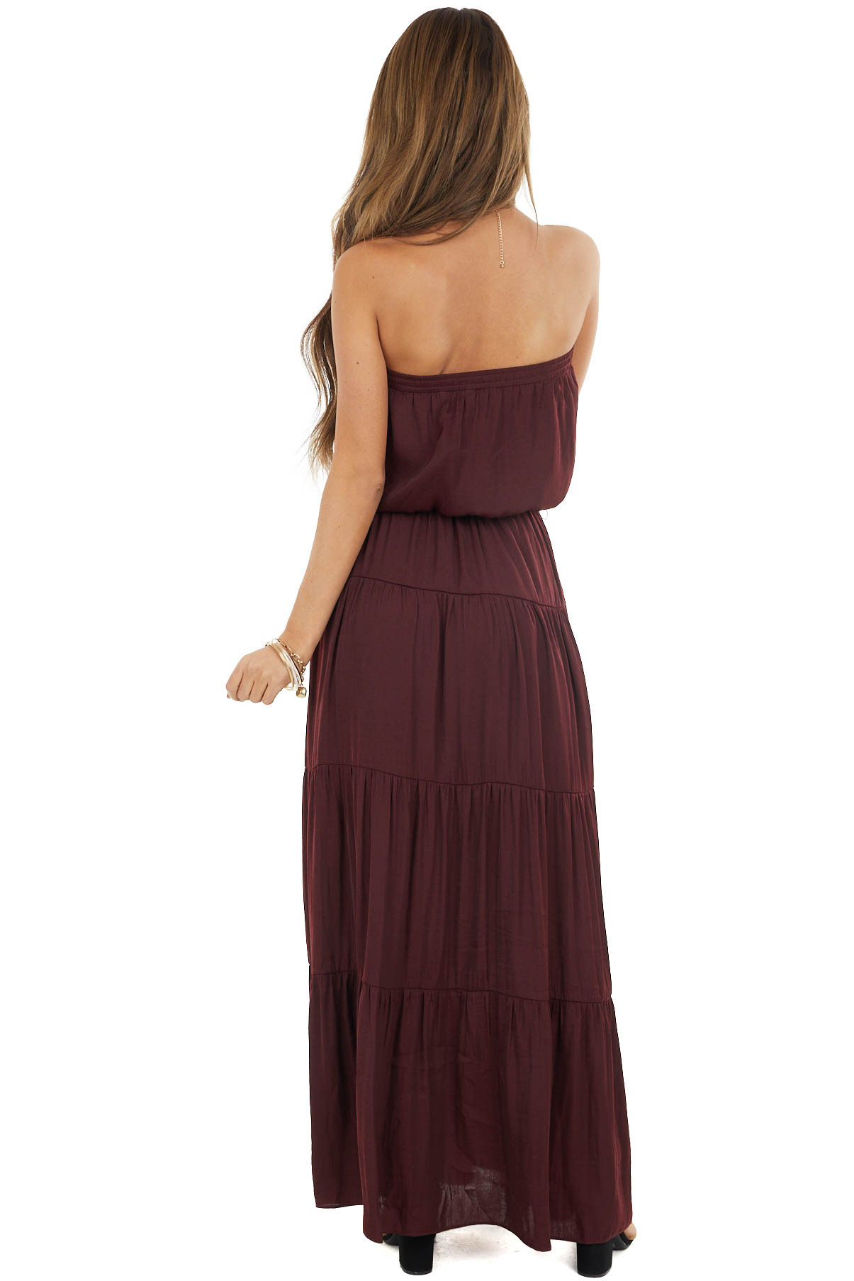 Merlot Tiered Tube Top Maxi Dress with Elastic Waist