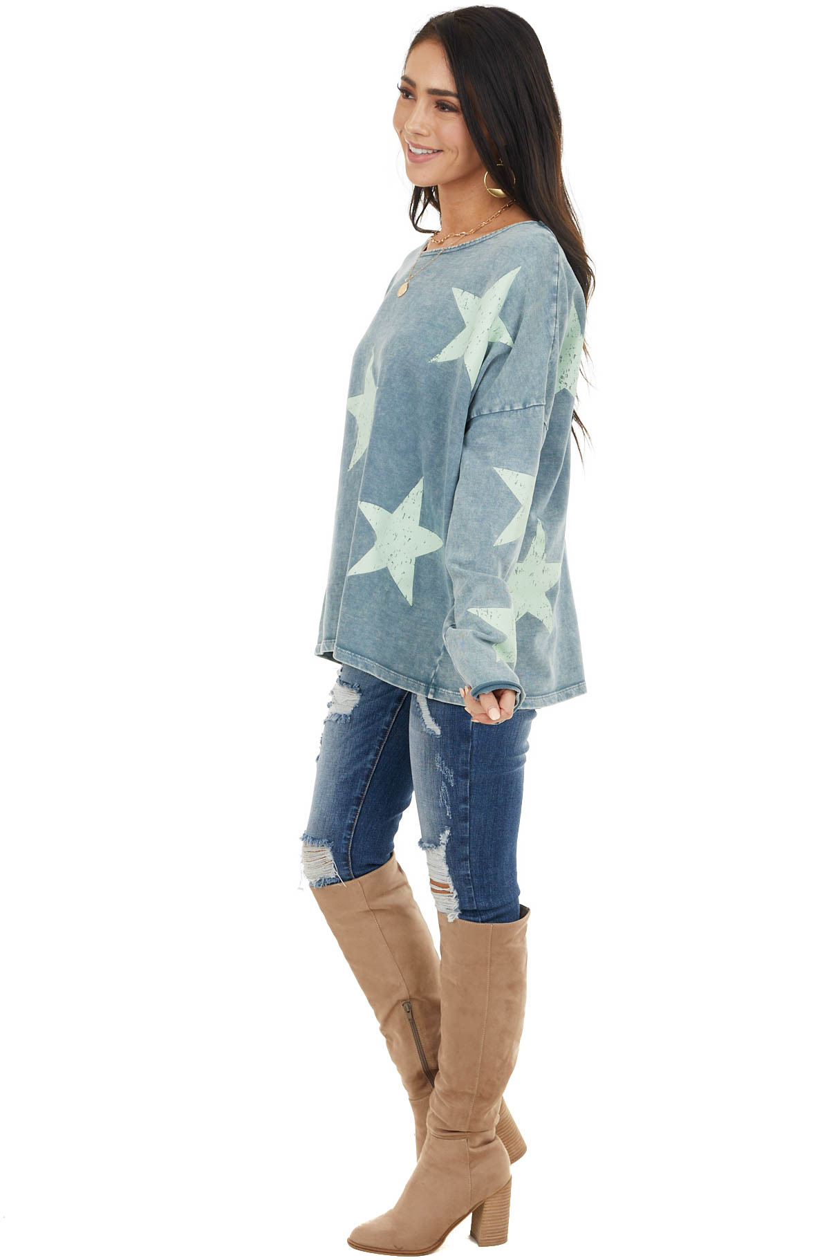 Ocean Blue and Turquoise Star Print Long Sleeve Knit Top