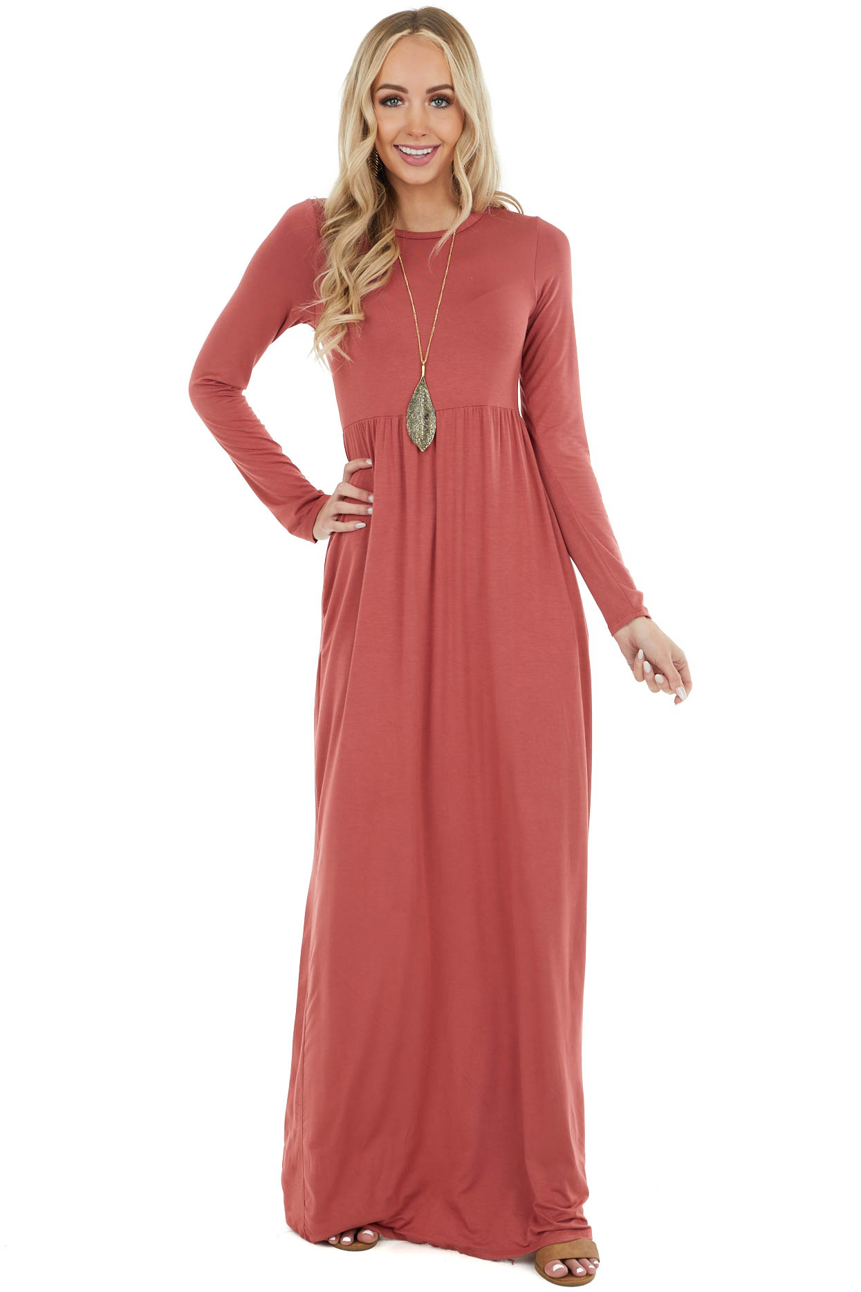 Marsala Long Sleeve Knit Maxi Dress with Pockets