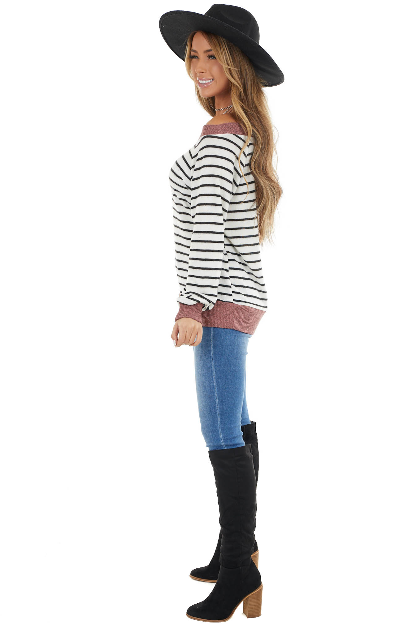 Off White Striped Stretchy Knit Top with Dusty Coral Trim