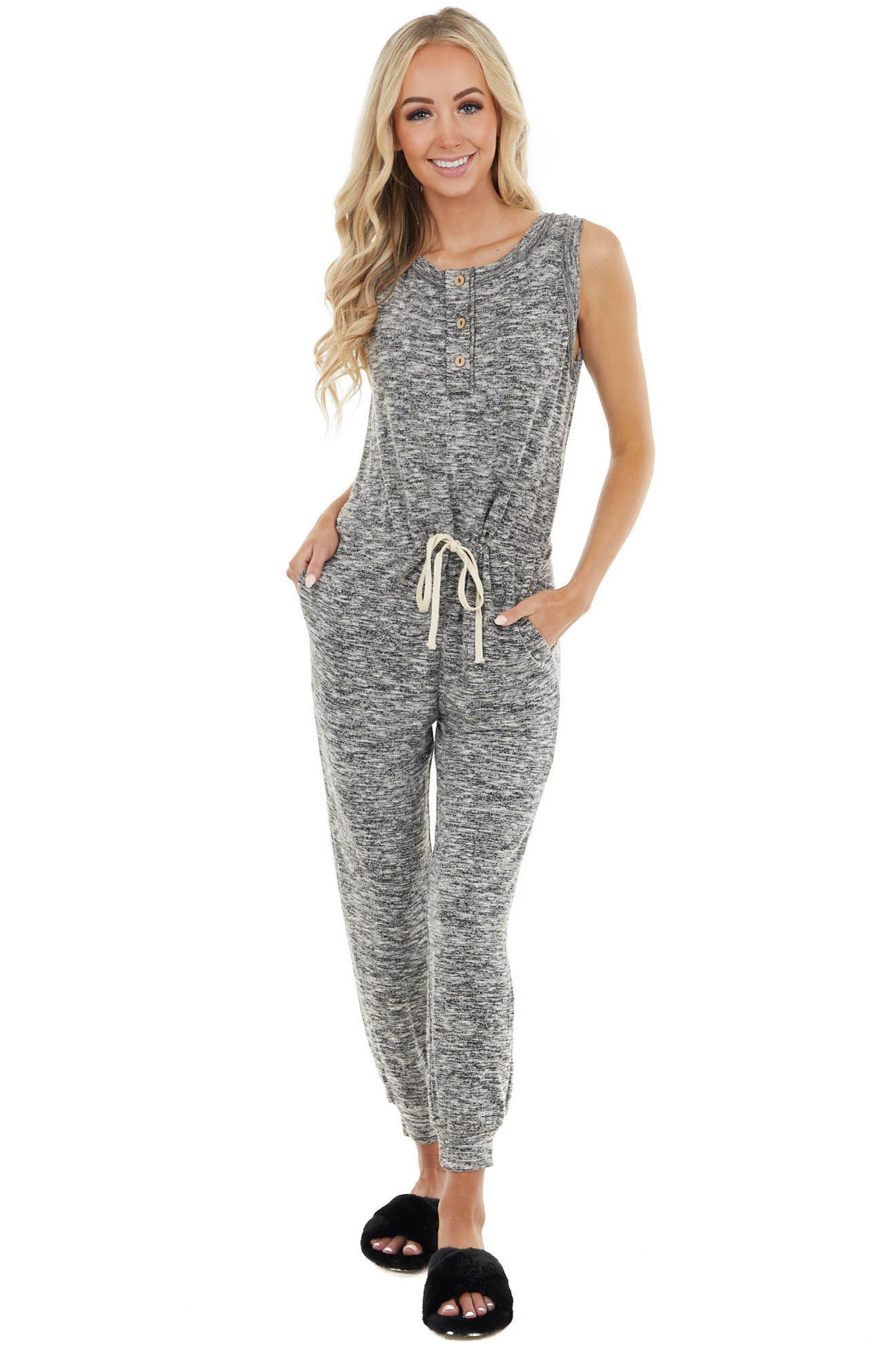 Black and White Sleeveless Jumpsuit with Button Details