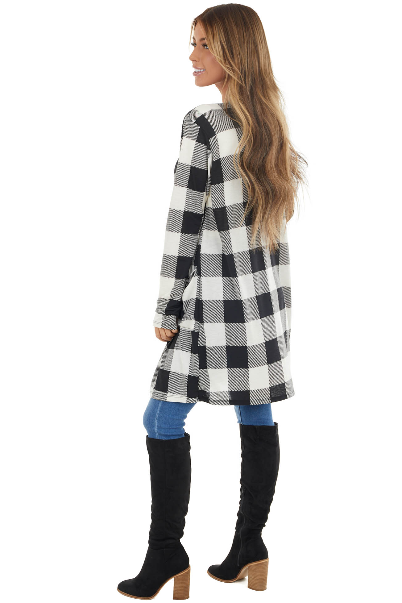 Black Buffalo Plaid Long Sleeve Cardigan with Open Front