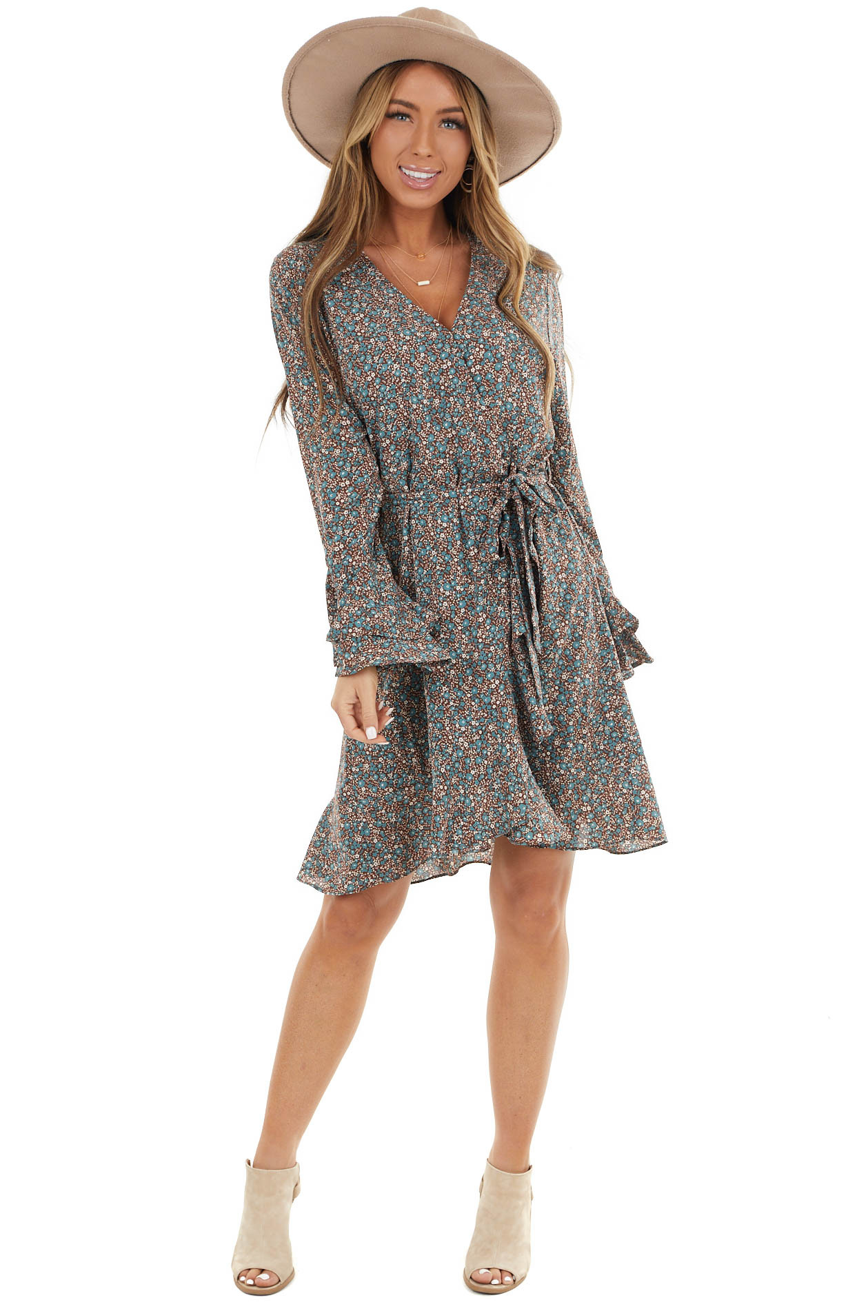 Chocolate Floral Print Surplice Dress with Long Bell Sleeves