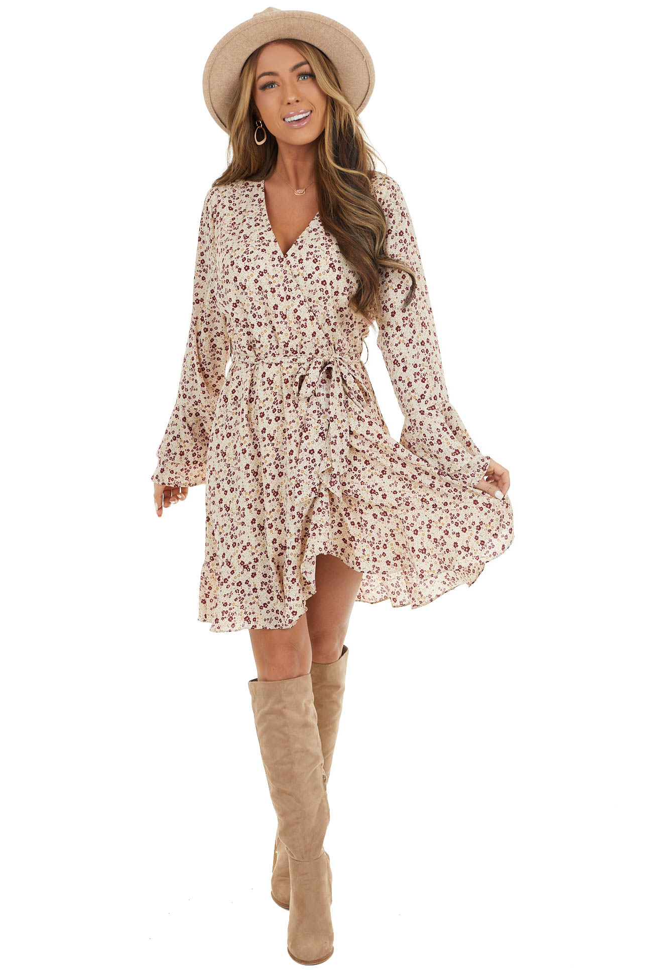 Cream Floral Print Surplice Dress with Long Bell Sleeves