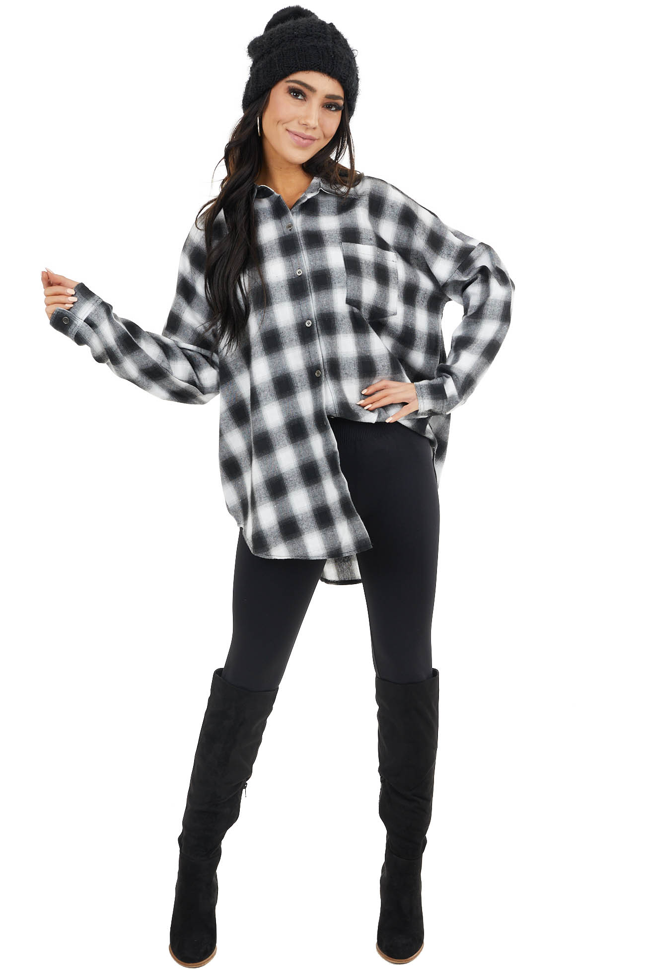 Black and White Buffalo Plaid Long Sleeve Button Up Top