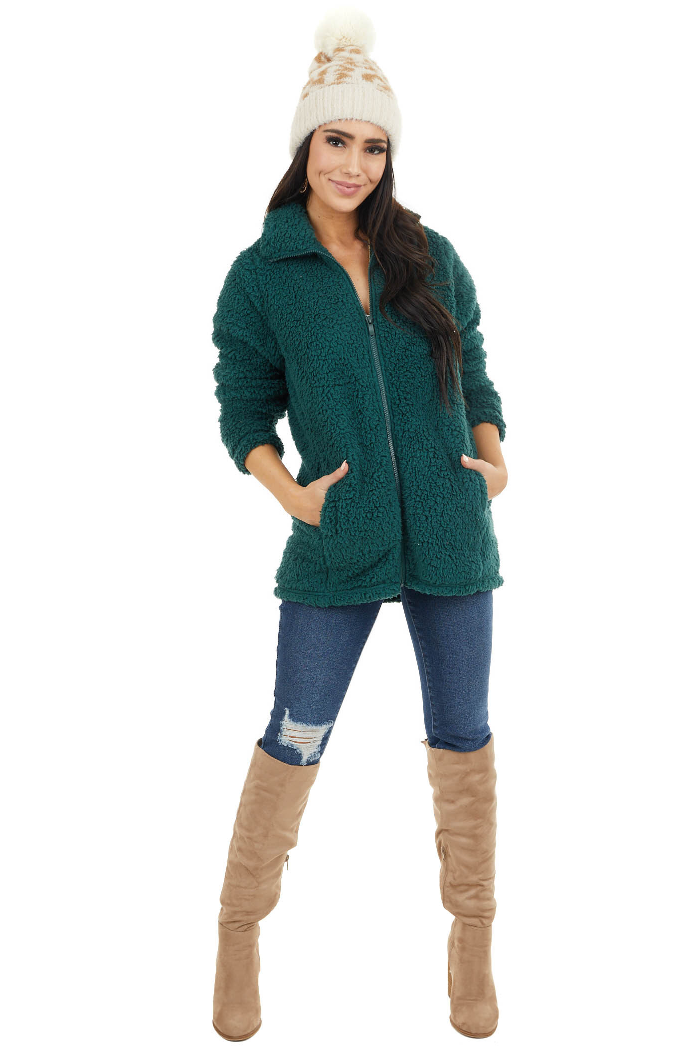 Hunter Green Zip Up High Neckline Sherpa Jacket with Pockets
