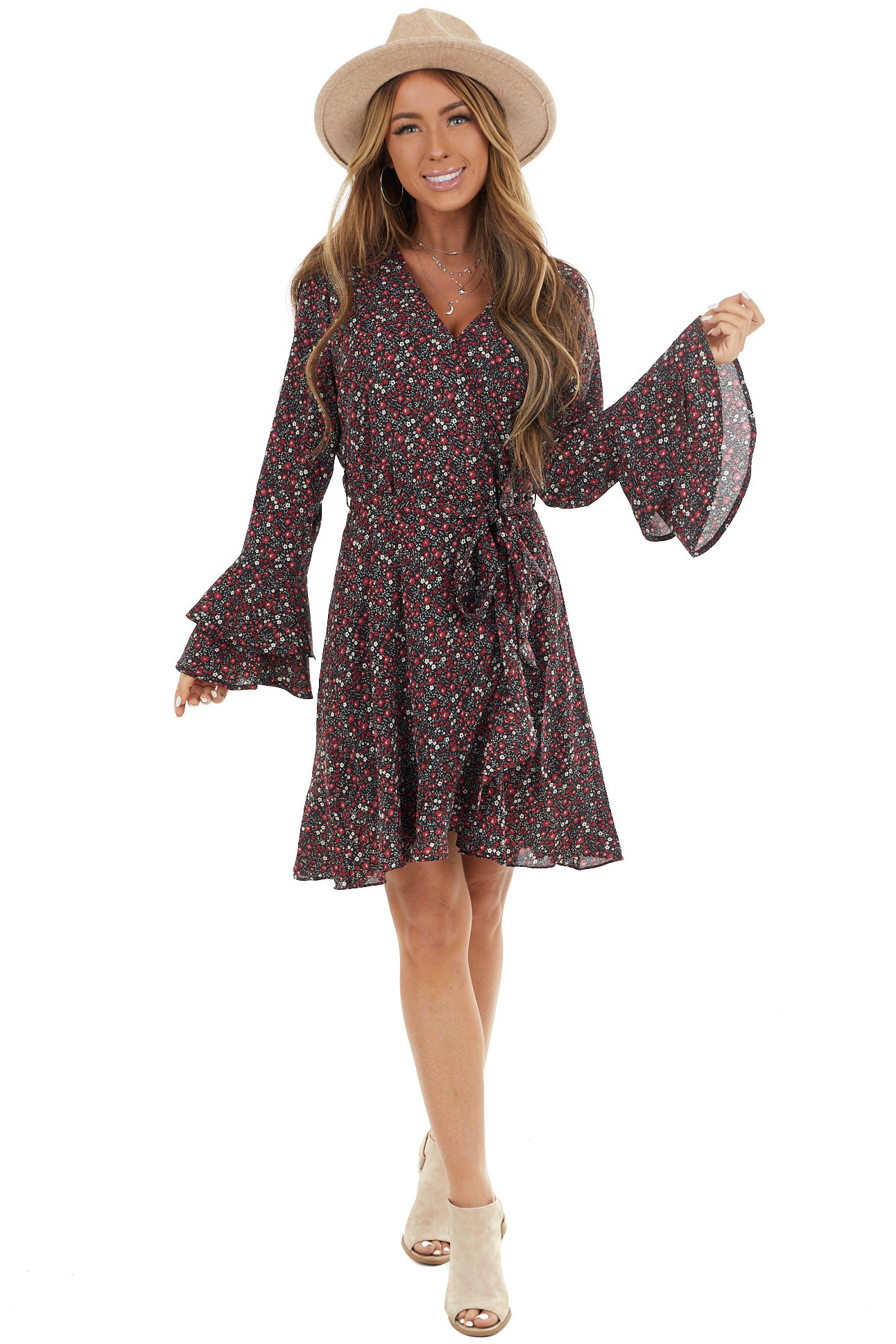 Black Floral Print Surplice Dress with Long Bell Sleeves