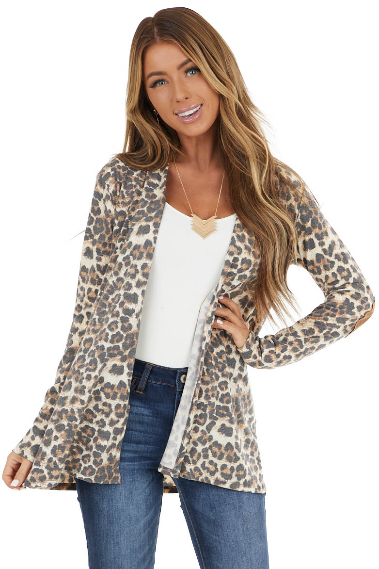 Charcoal Leopard Print Long Sleeve Open Front Cardigan