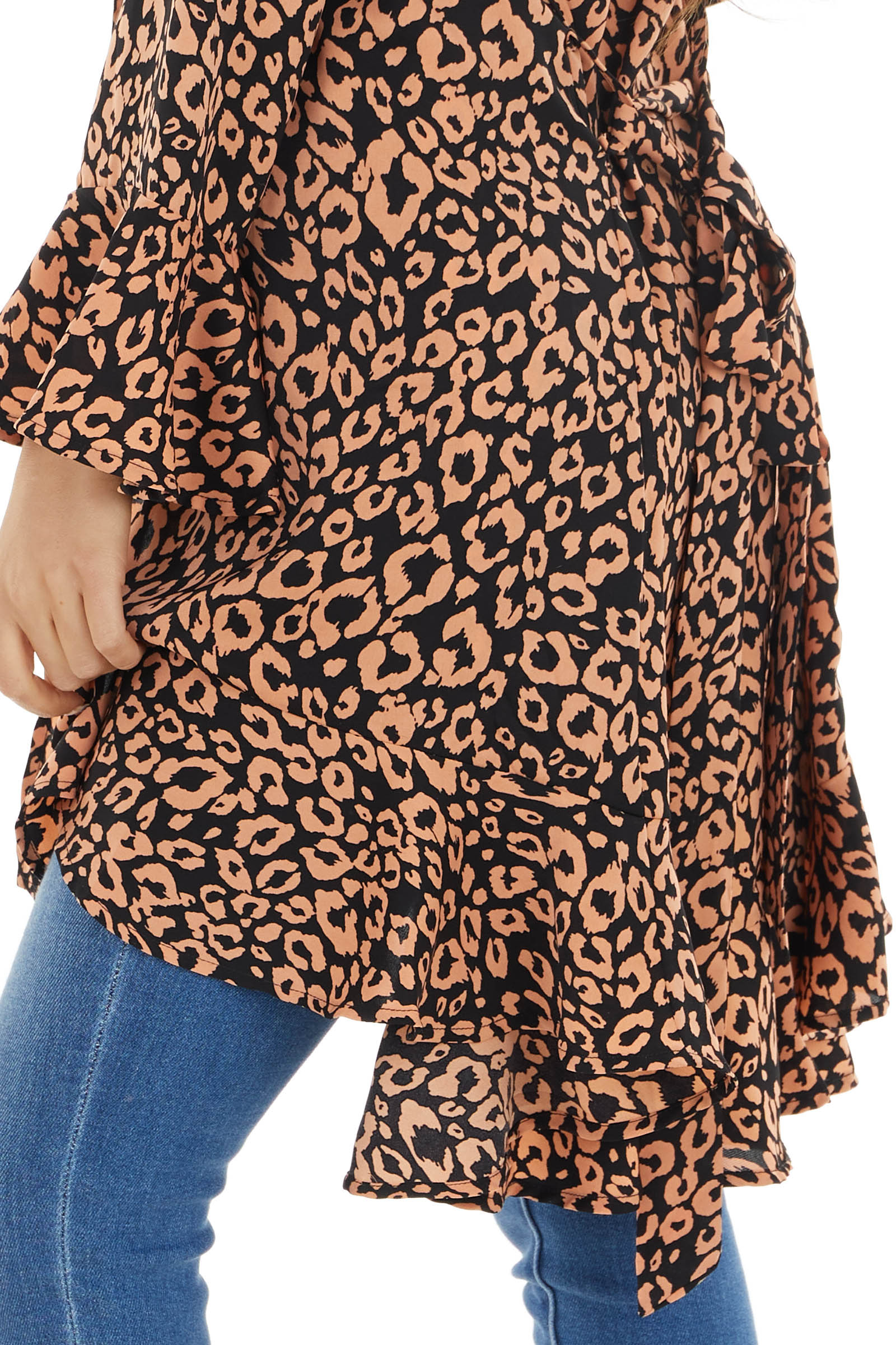 Black and Salmon Leopard Print Open Front Ruffed Cardigan