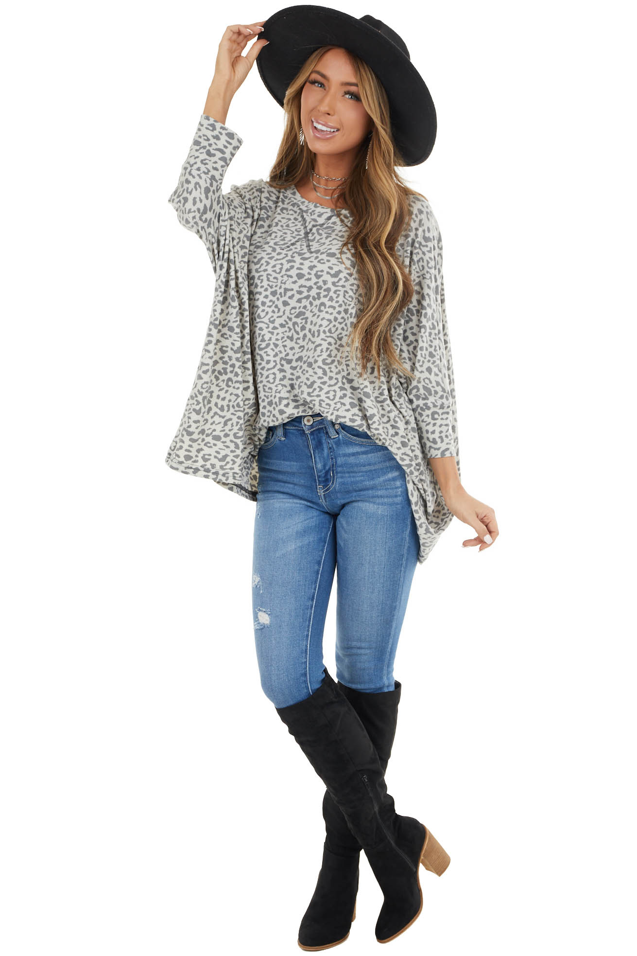 Ivory and Grey Oversized Leopard Print Batwing Top