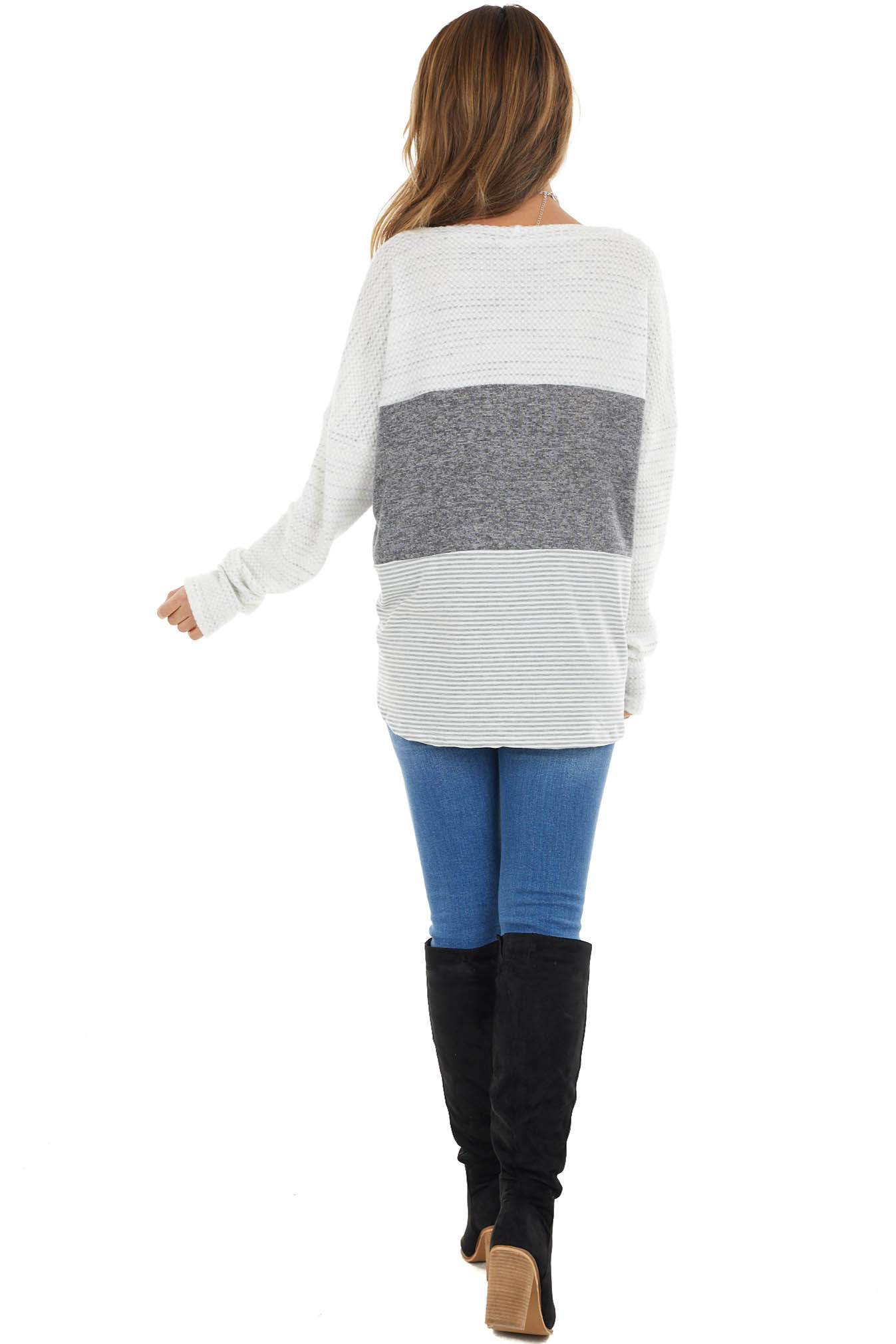 Dusty Charcoal and Off White Long Sleeve Colorblock Top