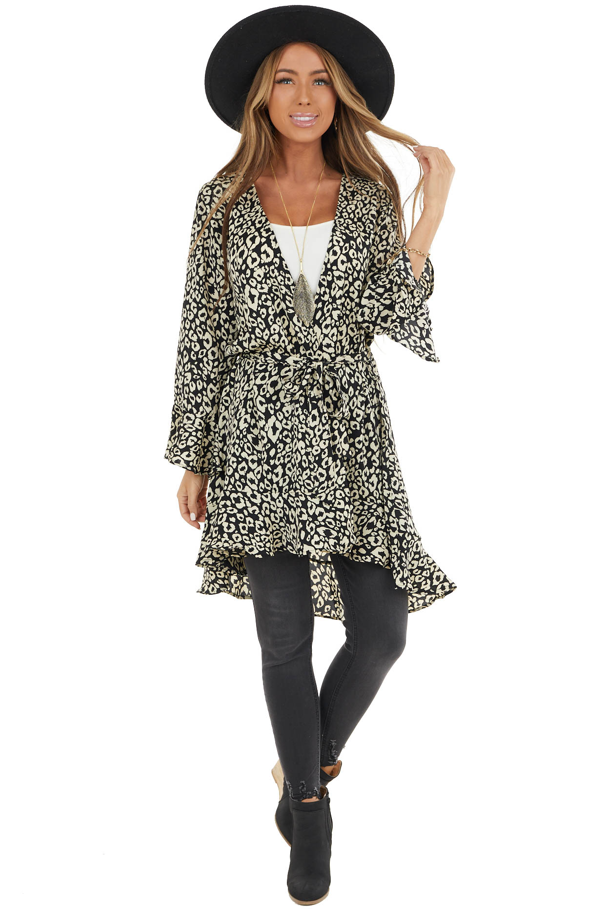 Black and Cream Leopard Print Open Front Ruffed Cardigan