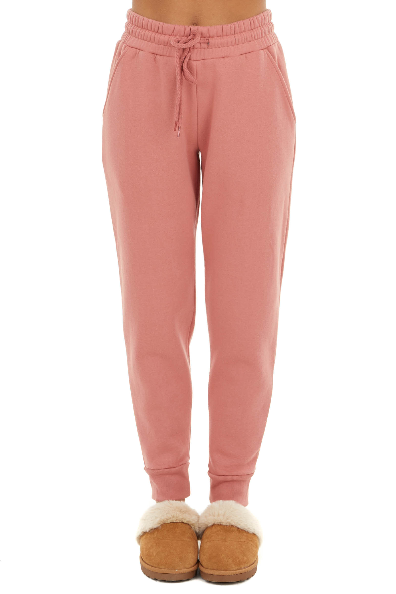 Coral Thick Stretchy Knit Joggers with Drawstring Waist