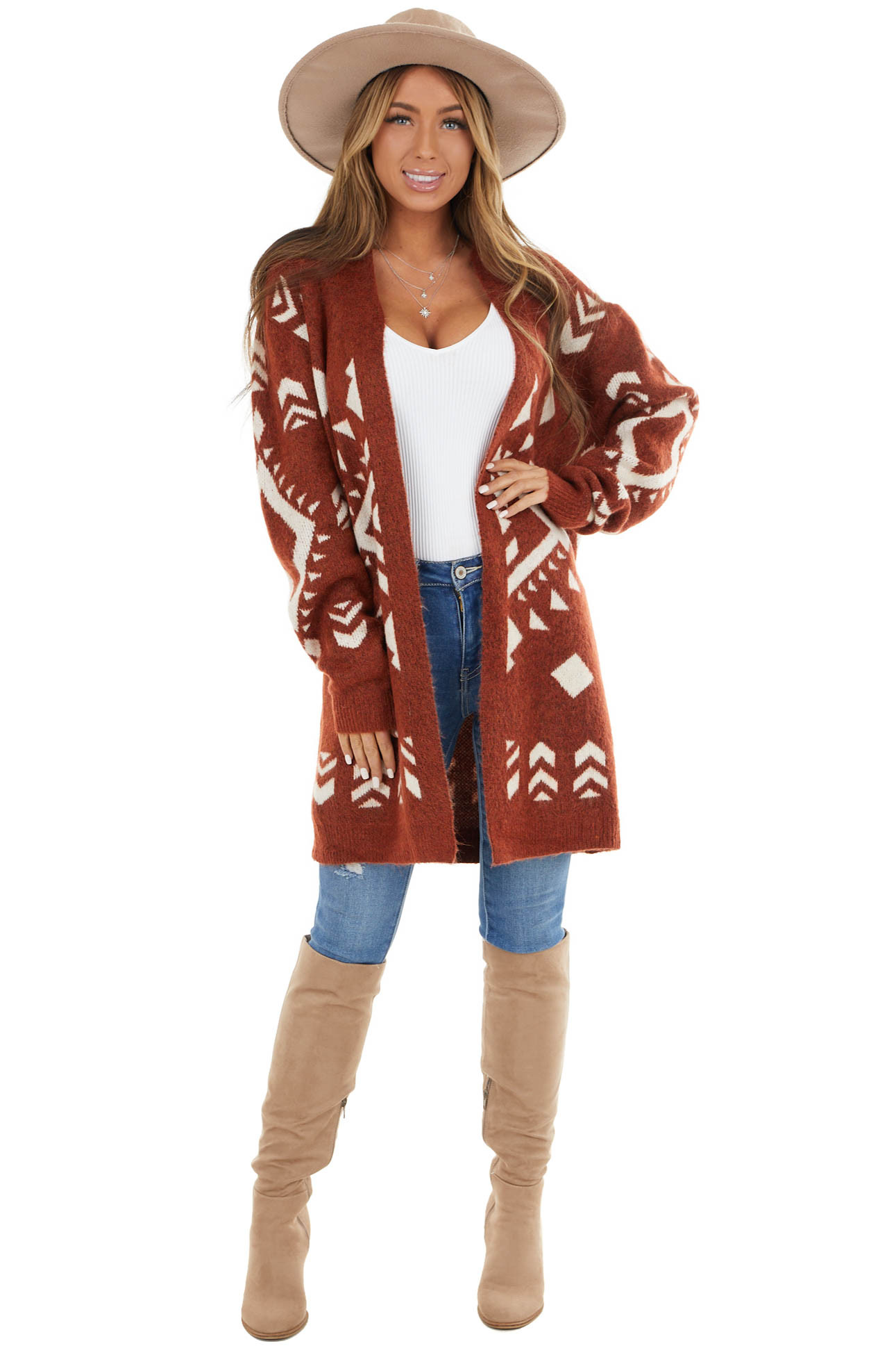 Dark Rust Aztec Print Long Sleeve Open Front Cardigan