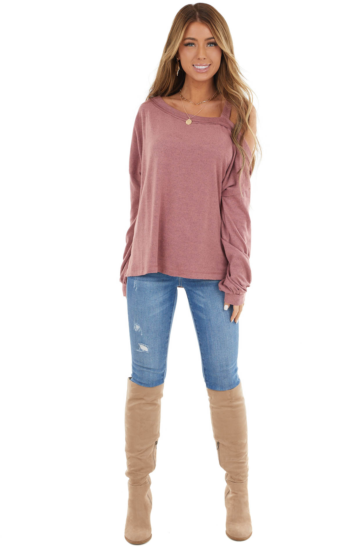 Mauve Cold Shoulder Long Sleeve Top with Raw Seam Detail