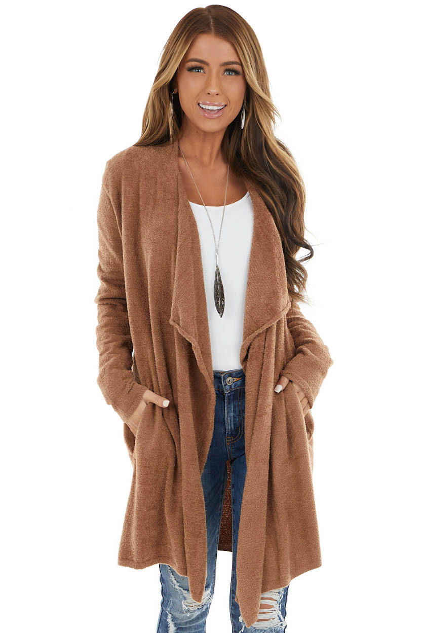 Camel Super Soft Fuzzy Open Front Cardigan with Pockets