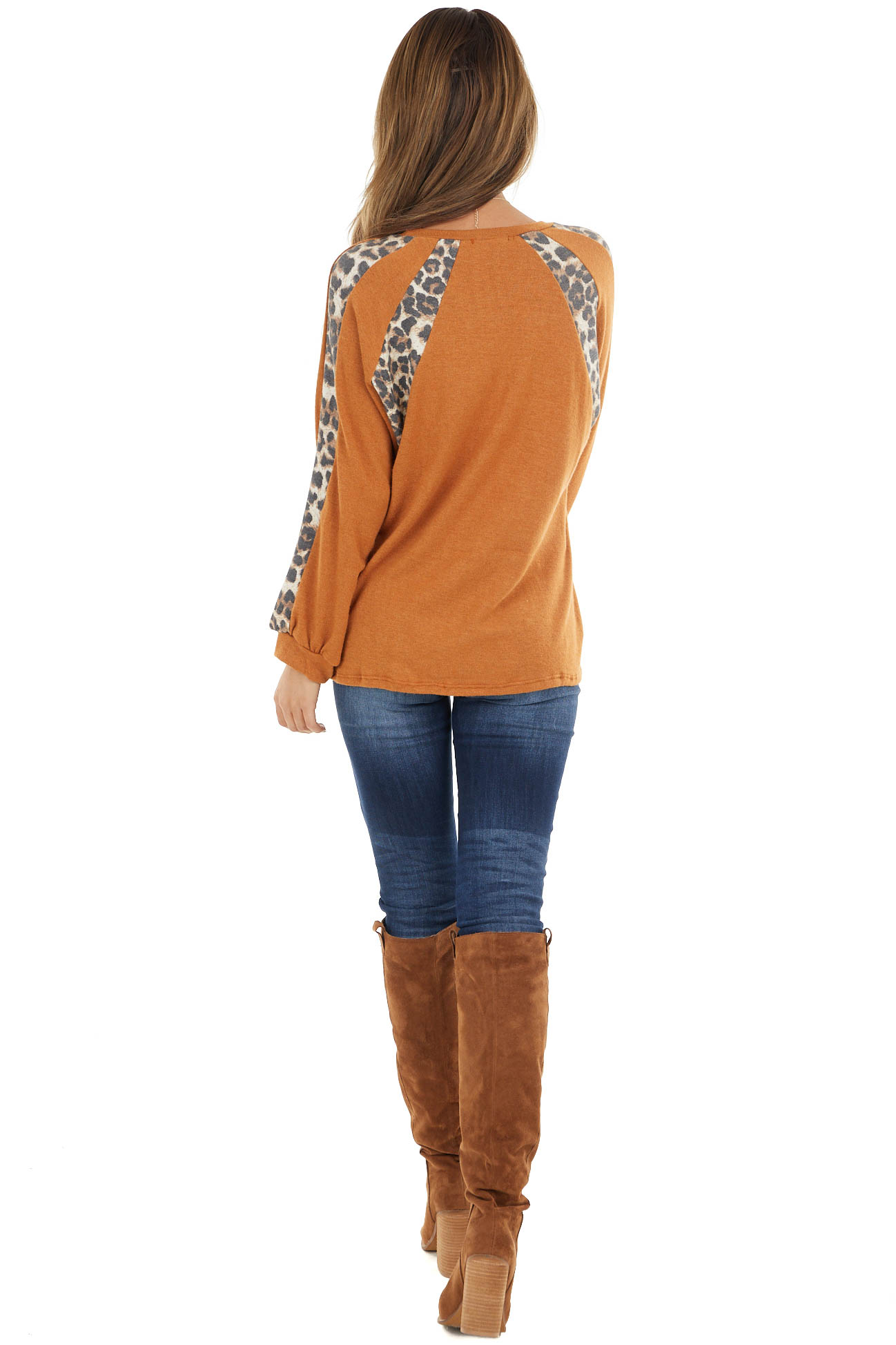 Tawny and Leopard Print Colorblock Long Sleeve Top