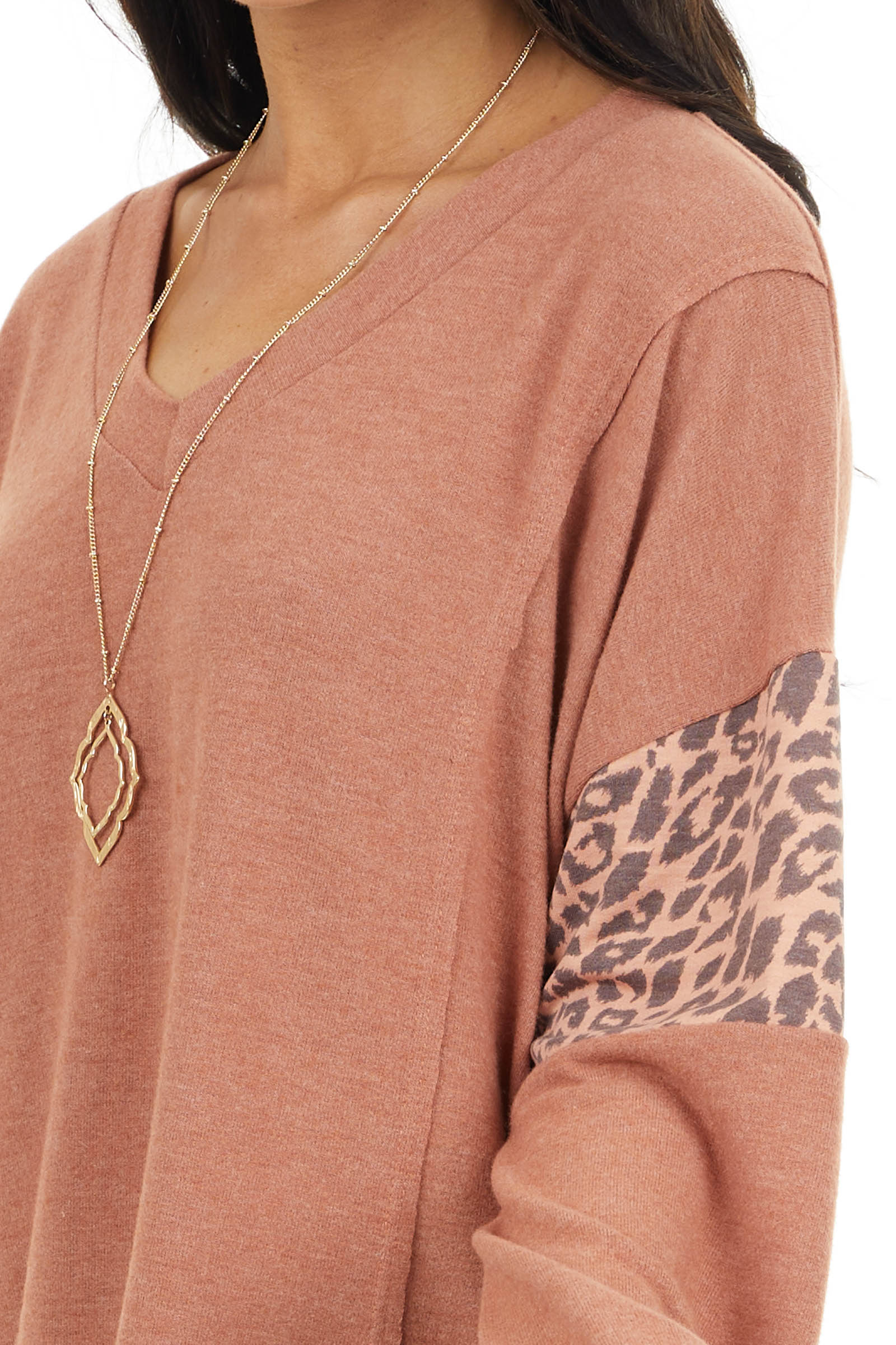 Terracotta Long Sleeve Knit Top with Leopard Print Detail