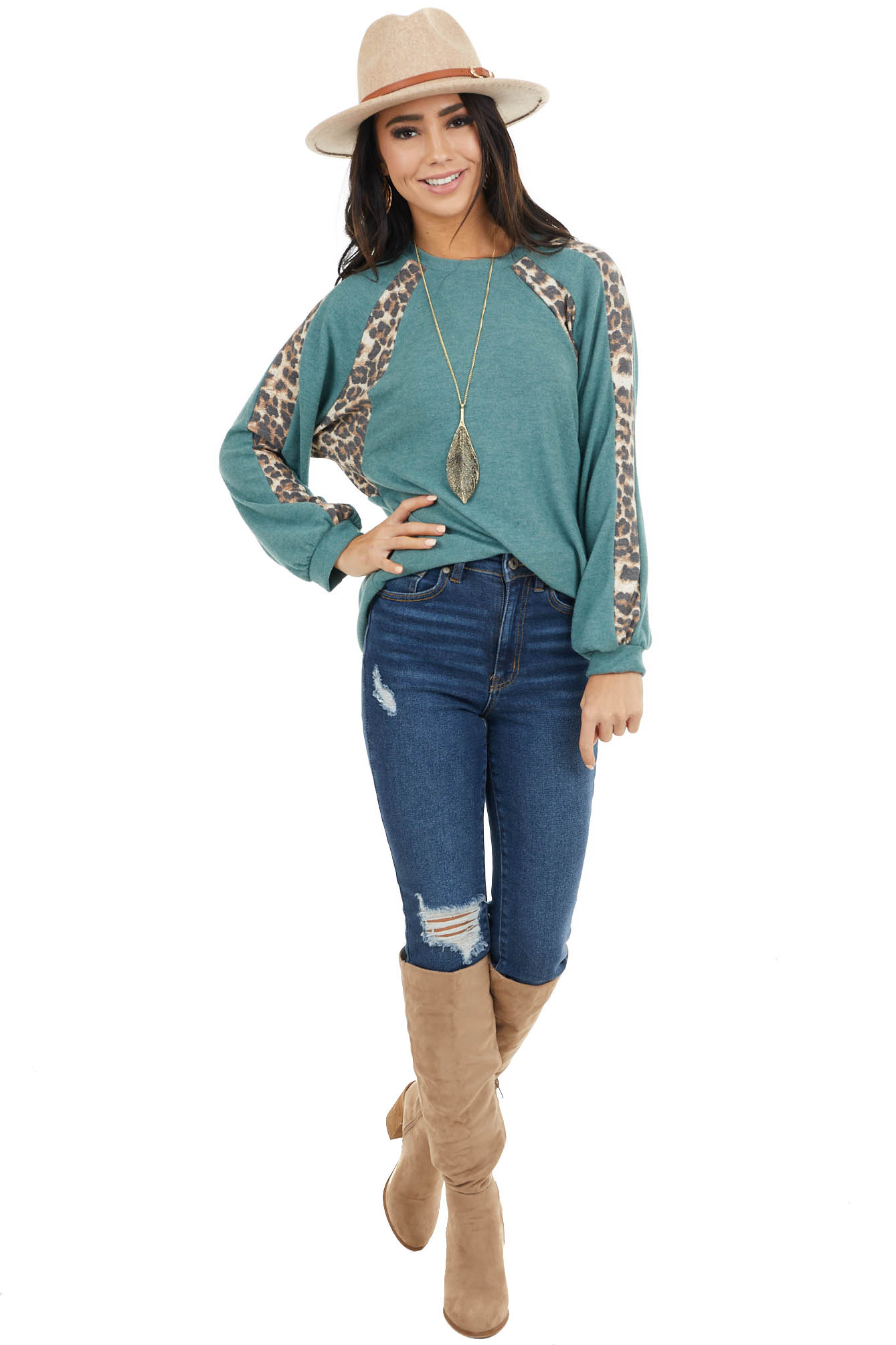 Pine Green and Leopard Print Colorblock Long Sleeve Top