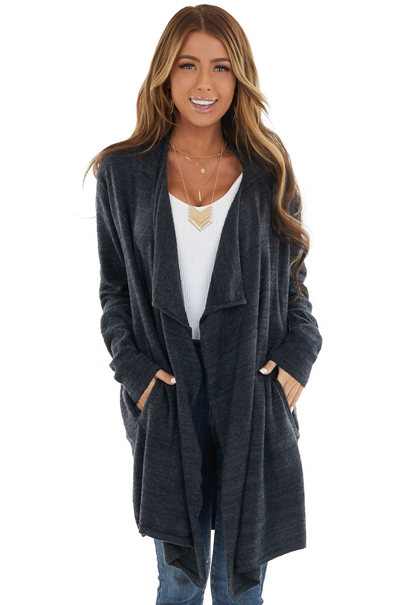 Stormy Super Soft Fuzzy Open Front Cardigan with Pockets