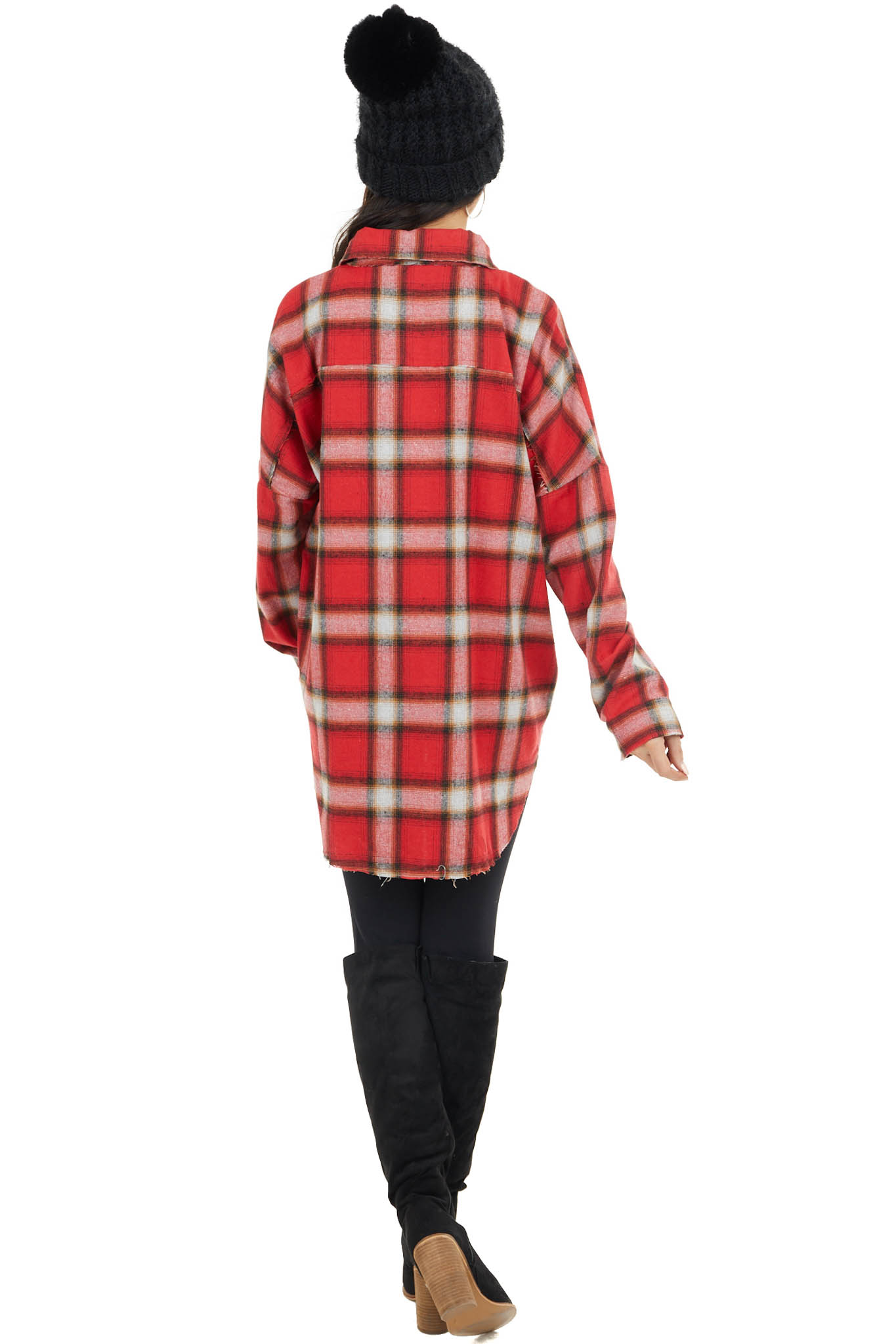 Lipstick Red Flannel Button Up Top with Split Seam Details