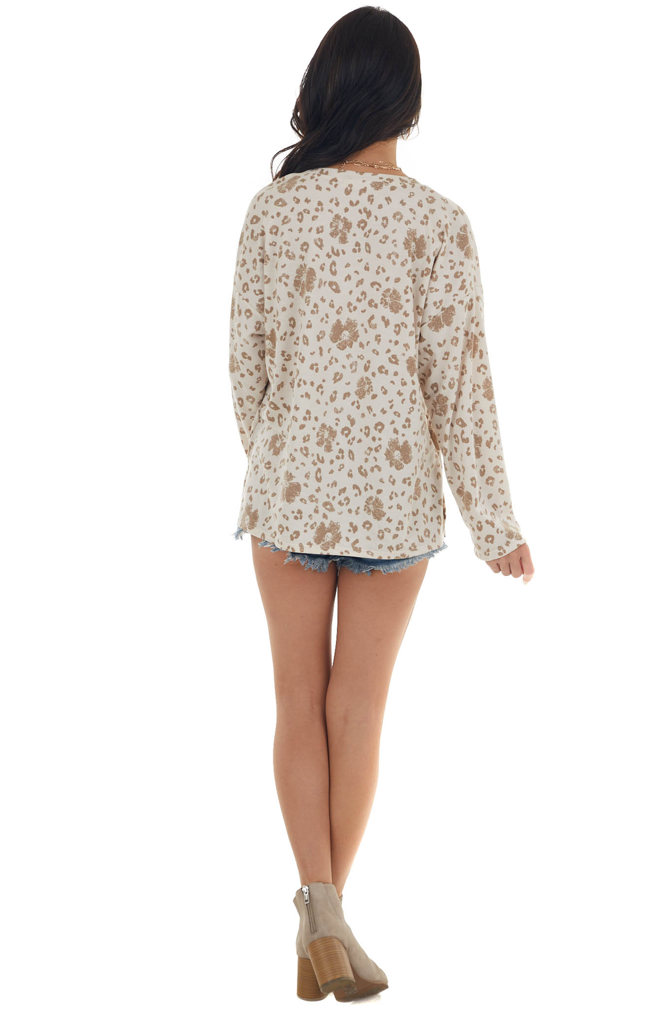 Latte Leopard Print French Terry Knit Long Sleeve Top
