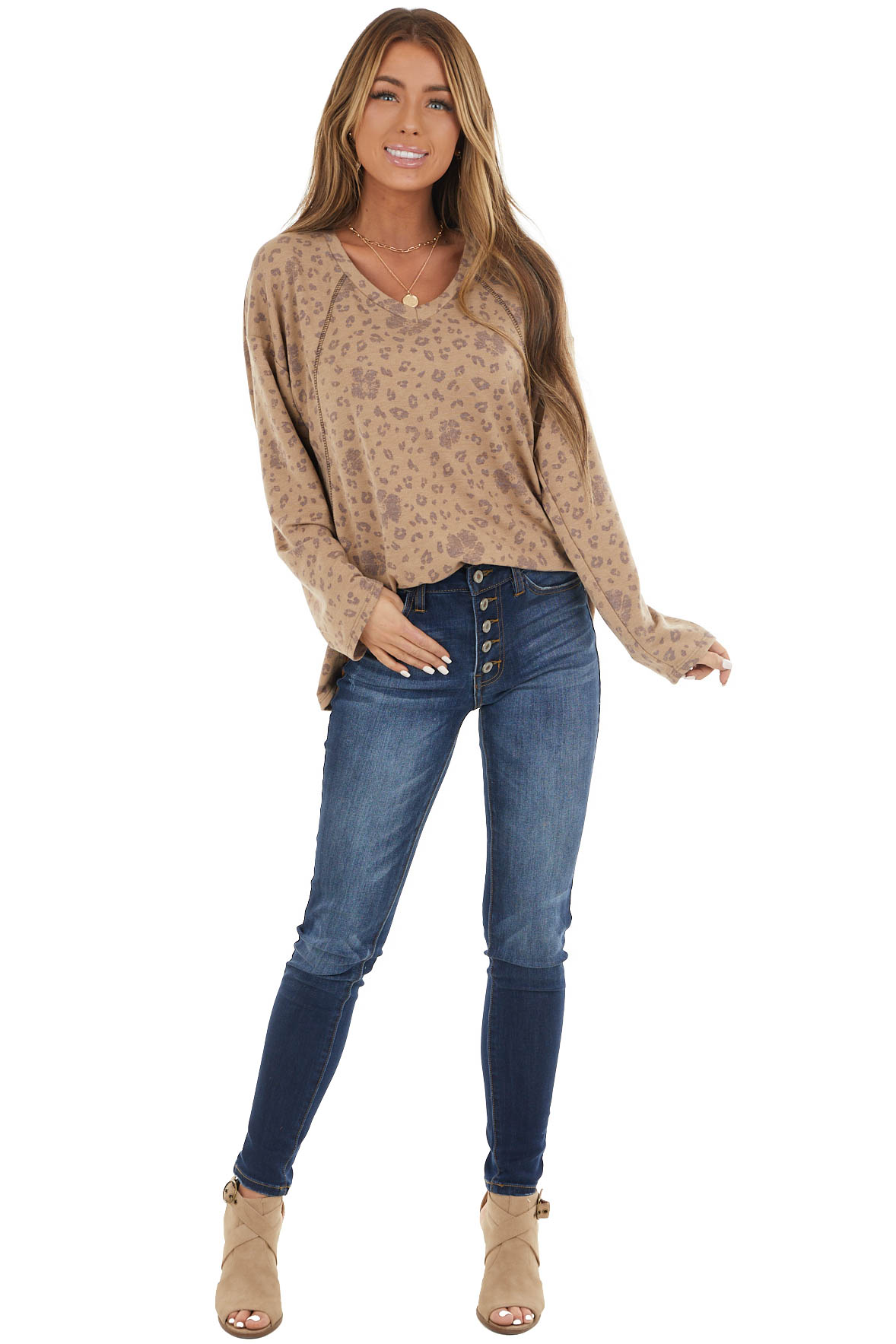 Taupe Leopard Print French Terry Knit Long Sleeve Top