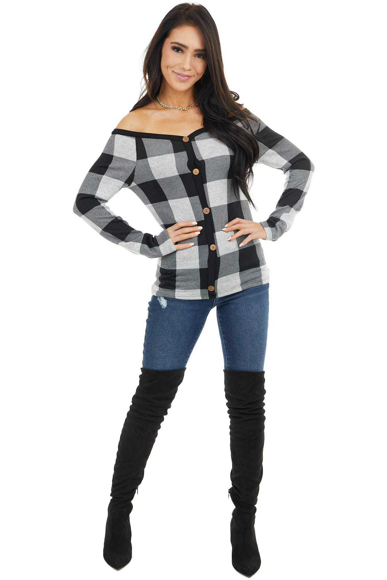 Heather Grey Buffalo Plaid Off Shoulder Long Sleeve Top