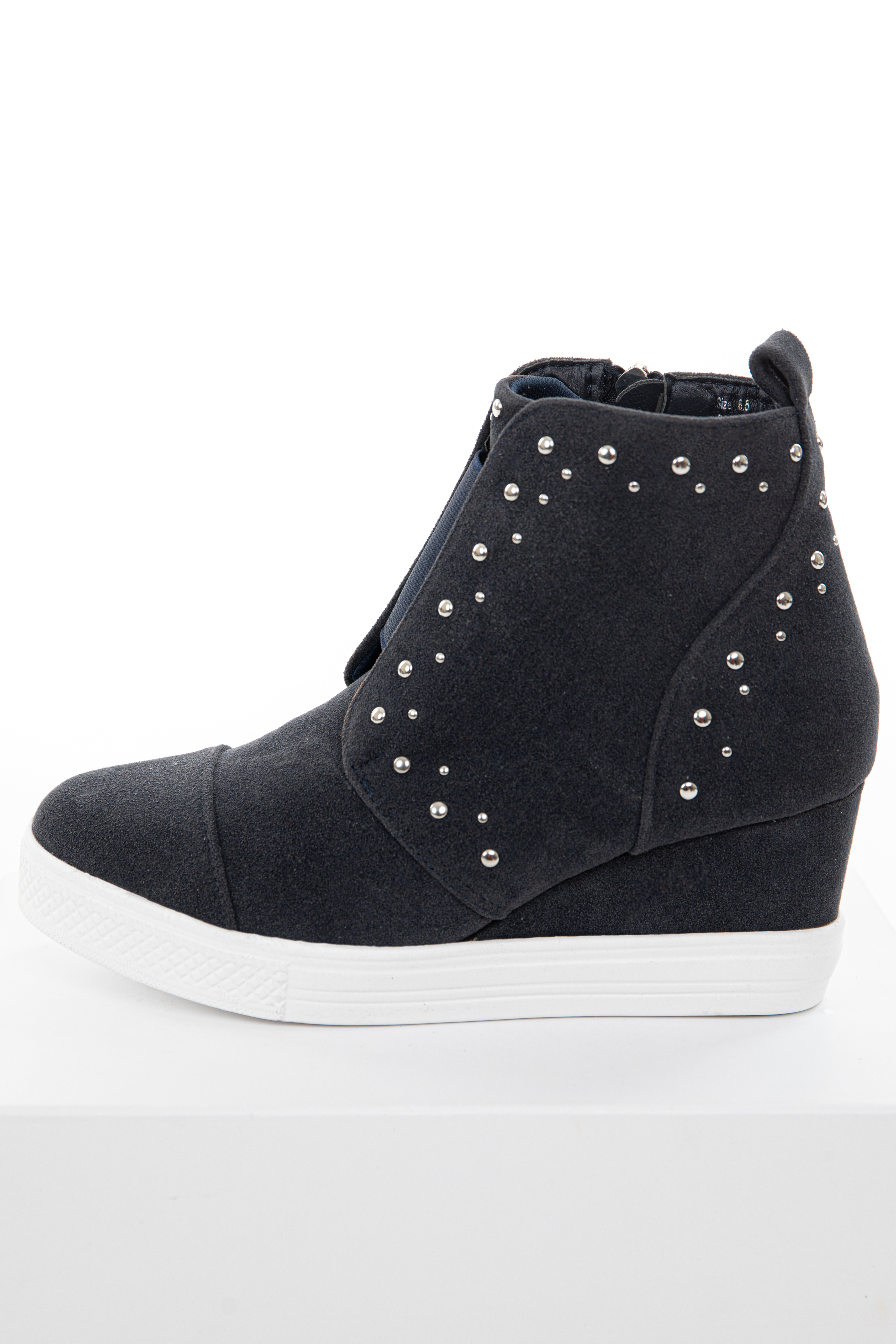 Black Faux Suede Wedge Sneakers with Silver Stud Details